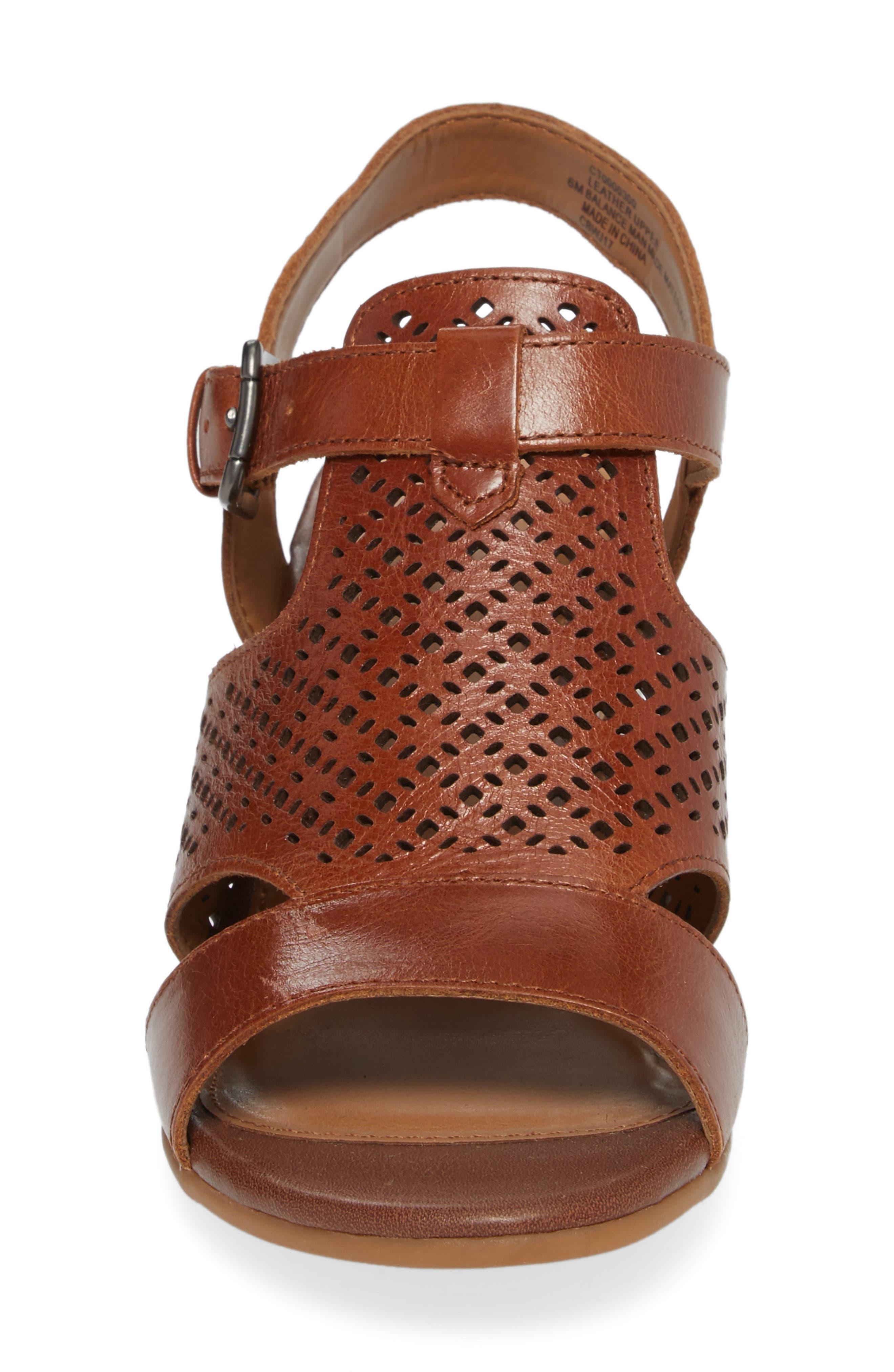 Amber Perforated Block Heel Sandal,                             Alternate thumbnail 4, color,                             Luggage Leather