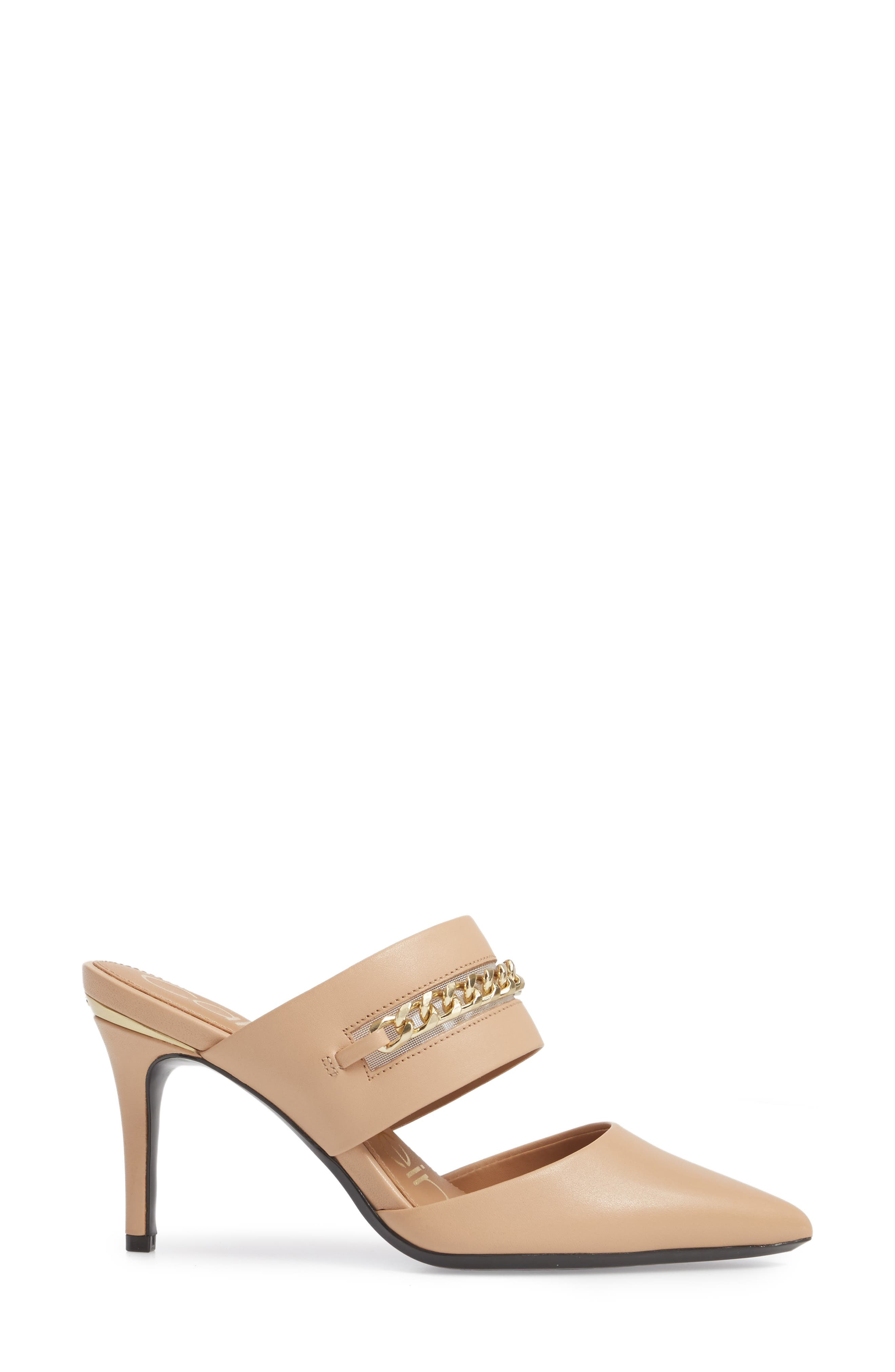 Ginette Embellished Pointy Toe Mule,                             Alternate thumbnail 3, color,                             Sandstorm Leather