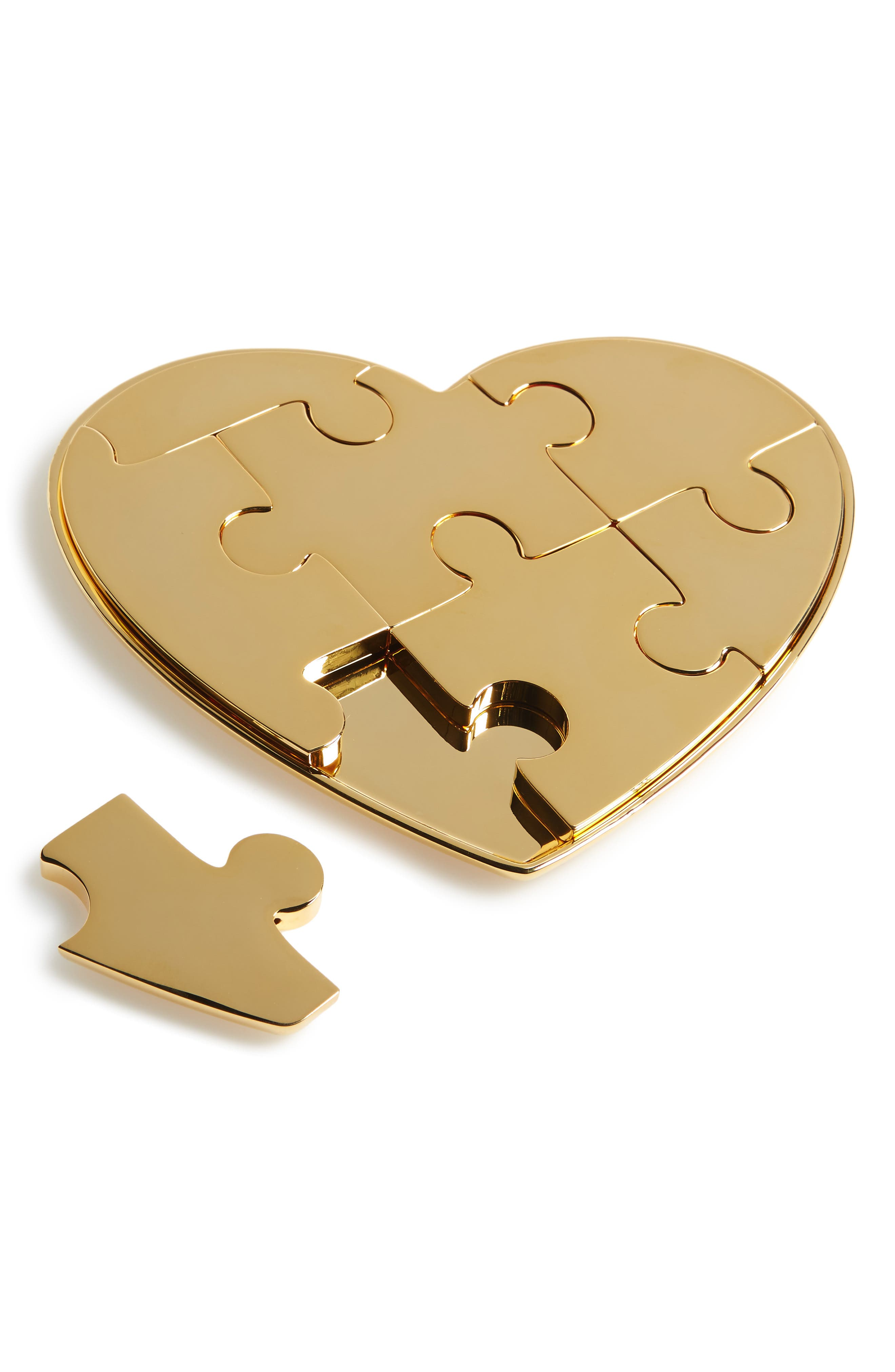 Heart Jigsaw Puzzle,                         Main,                         color, Metallic Gold