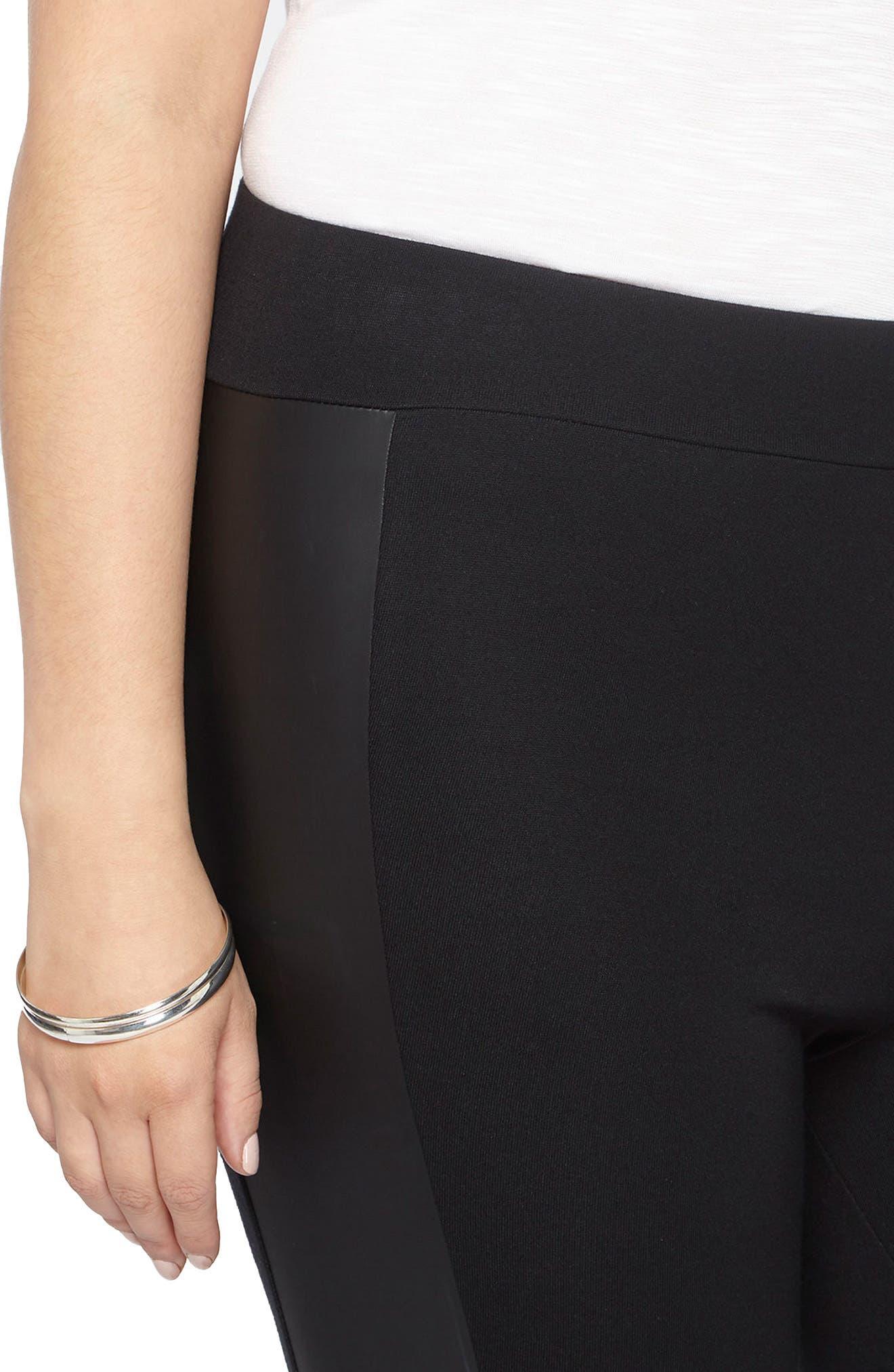 Faux Leather Panel Ponte Knit Leggings,                             Alternate thumbnail 3, color,                             Black