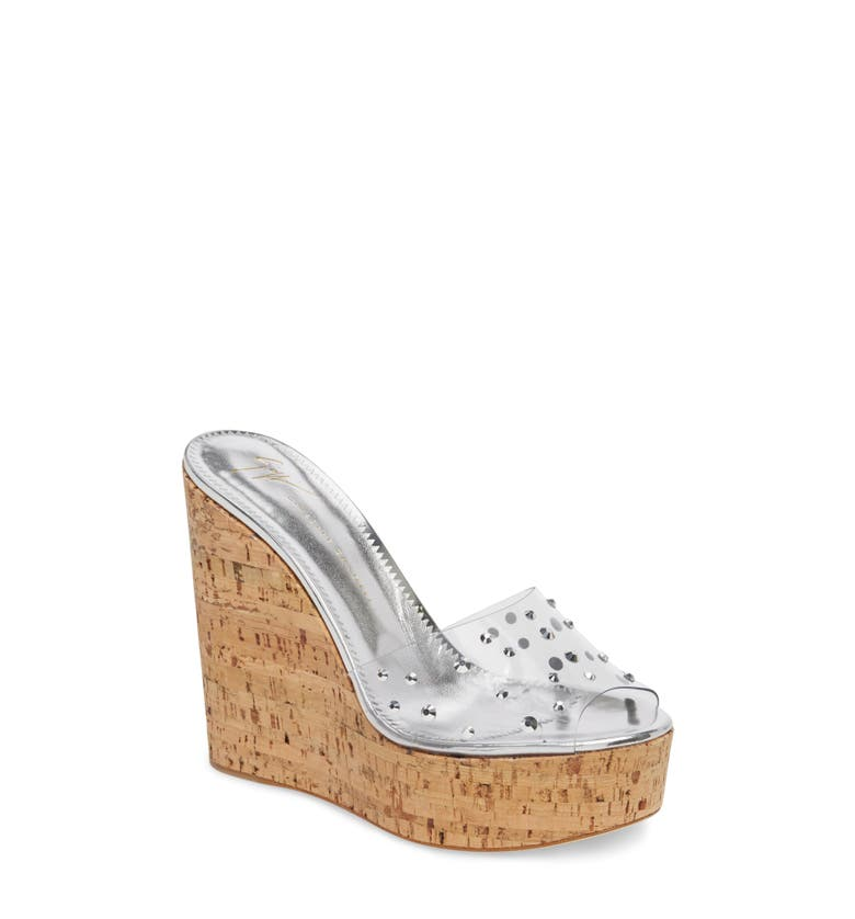 Main Image - Giuseppe Zanotti Clear Studded Platform Wedge Sandal (Women)
