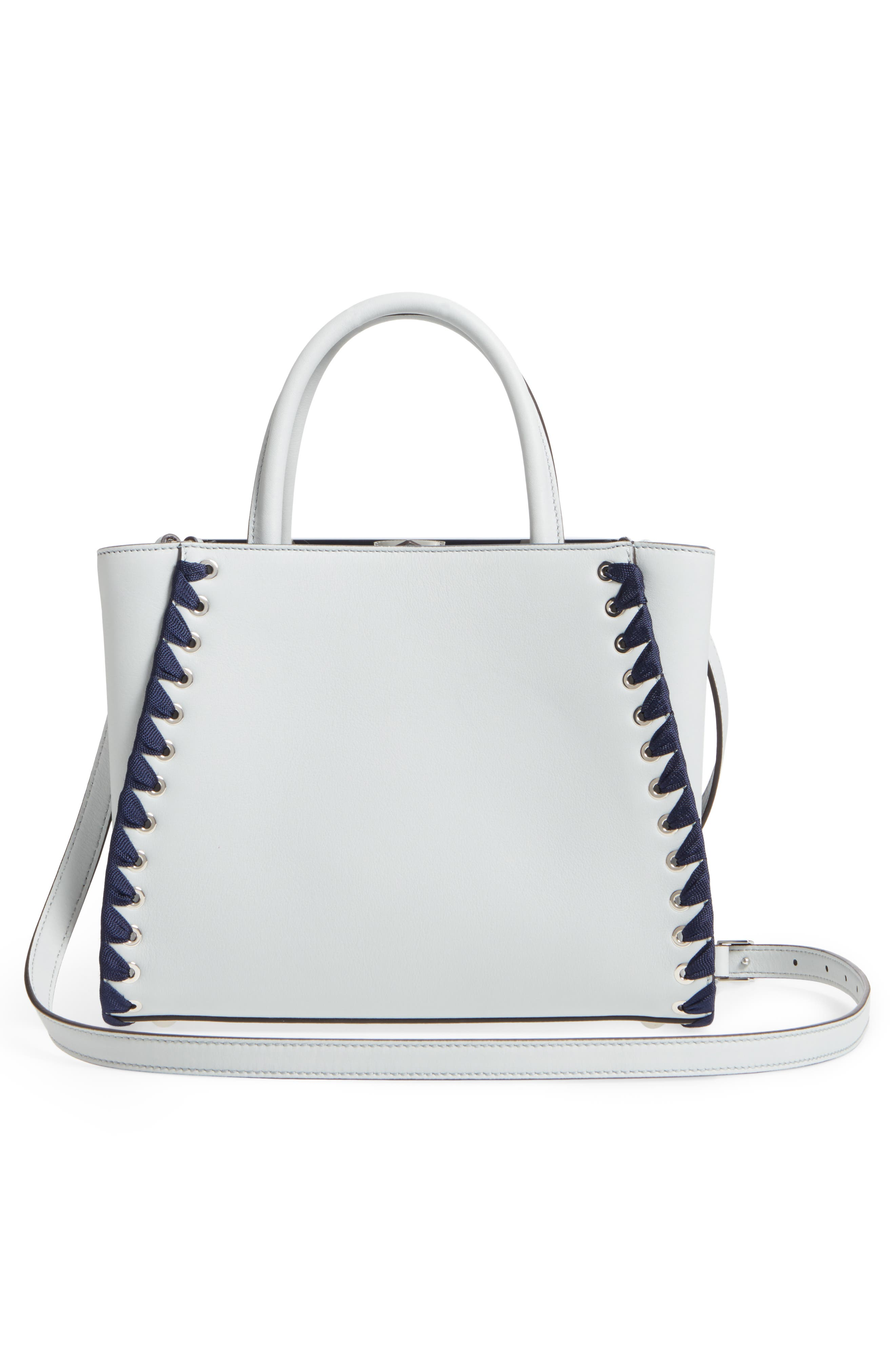 Petite 2Jours Whipstich Leather Shopper,                             Alternate thumbnail 3, color,                             Pearl Grey