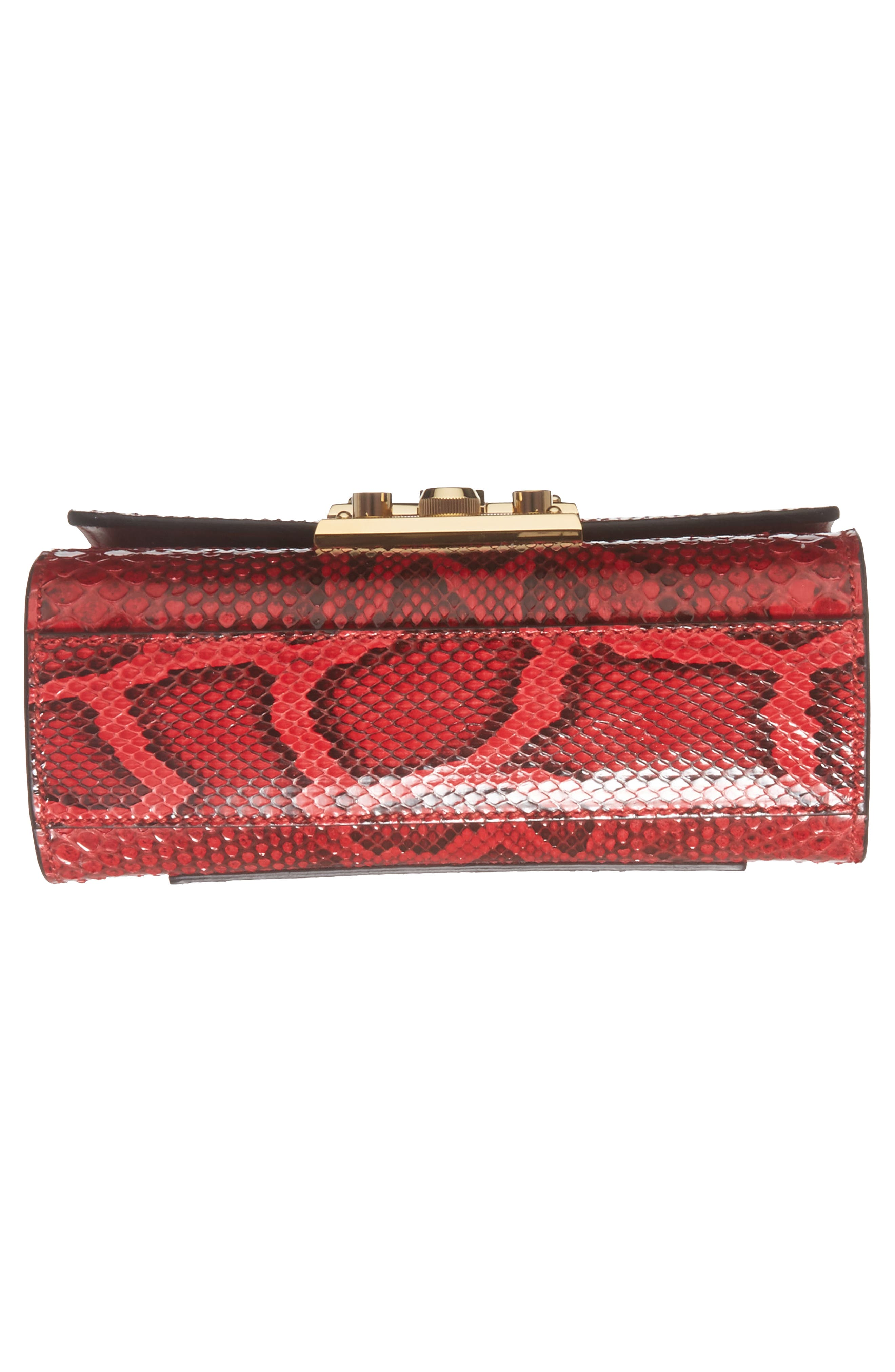 Small Padlock - Genuine Python Shoulder Bag,                             Alternate thumbnail 6, color,                             Hibiscus Red