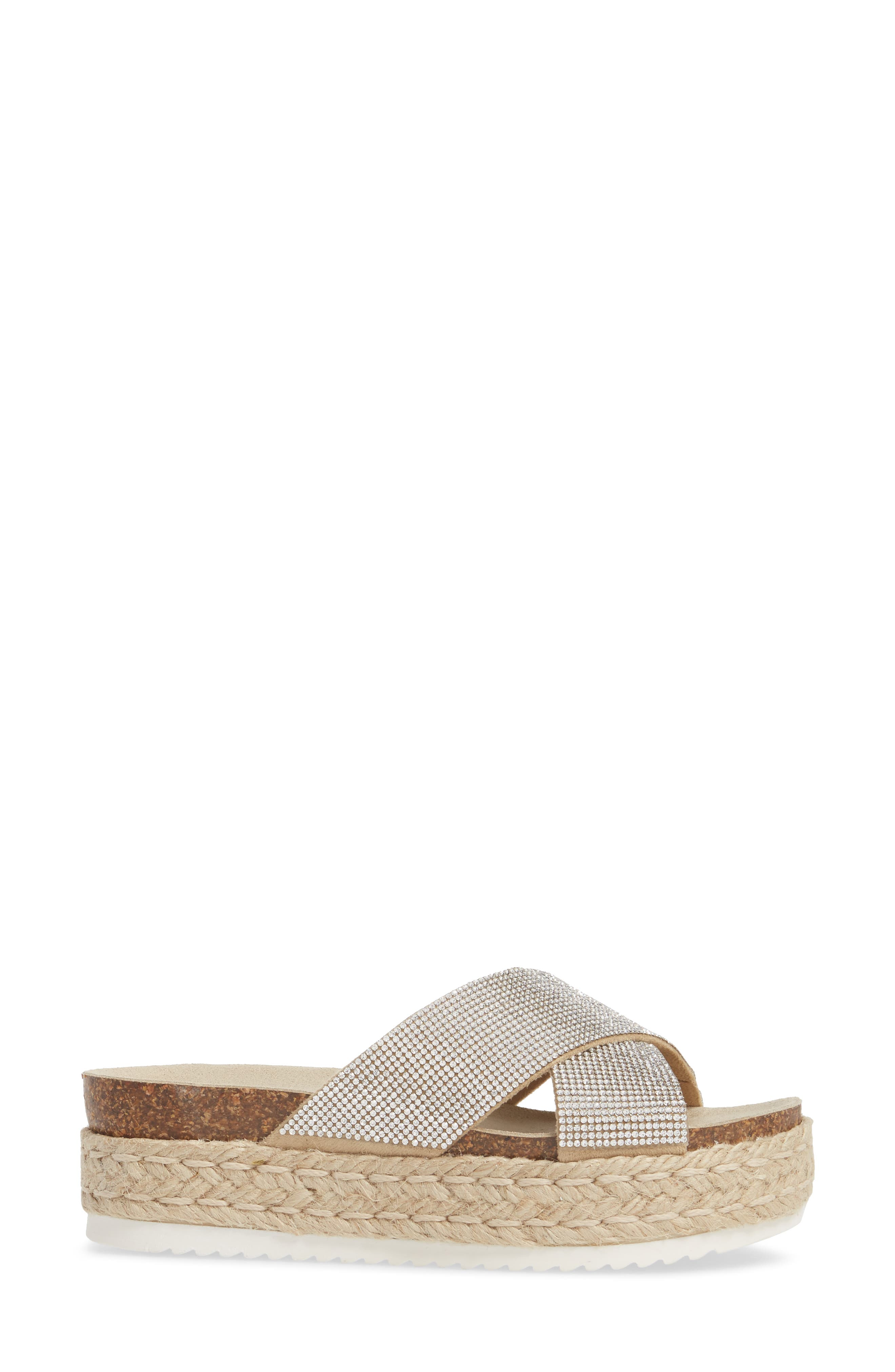 Arran-R Platform Espadrille Sandal,                             Alternate thumbnail 3, color,                             Rhinestone