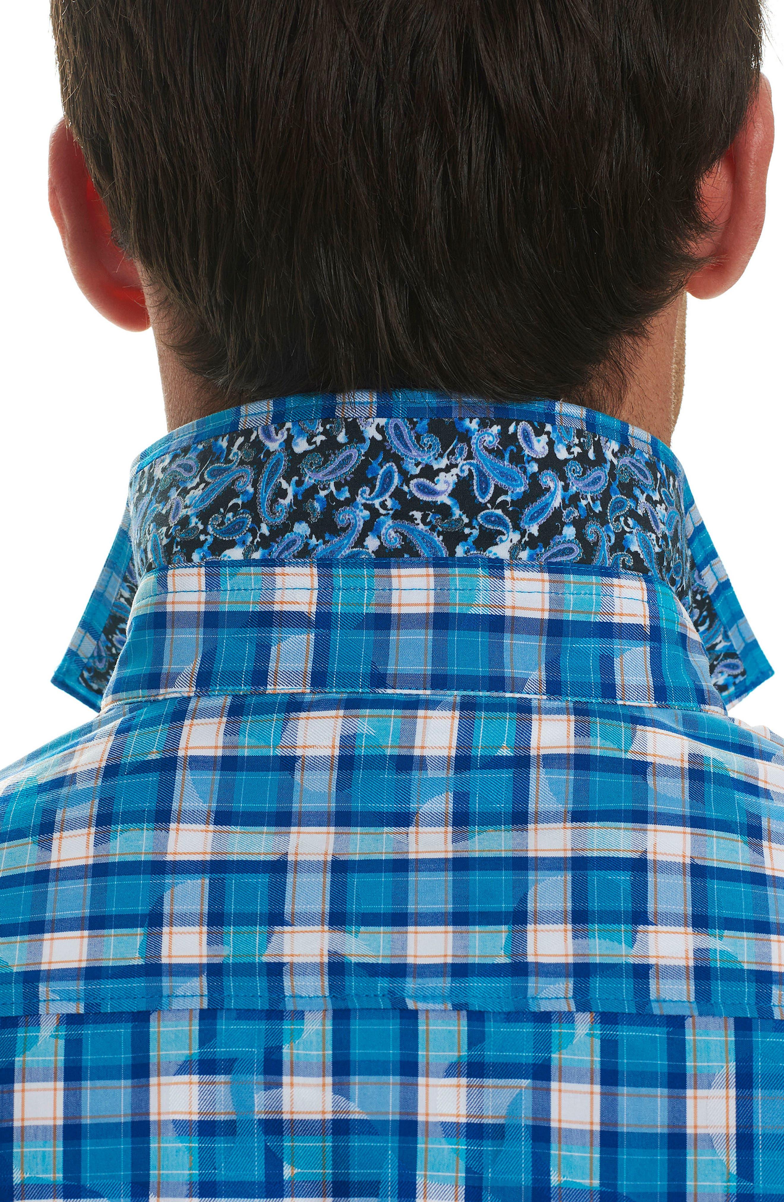 Tangier Classic Fit Print Sport Shirt,                             Alternate thumbnail 3, color,                             Teal