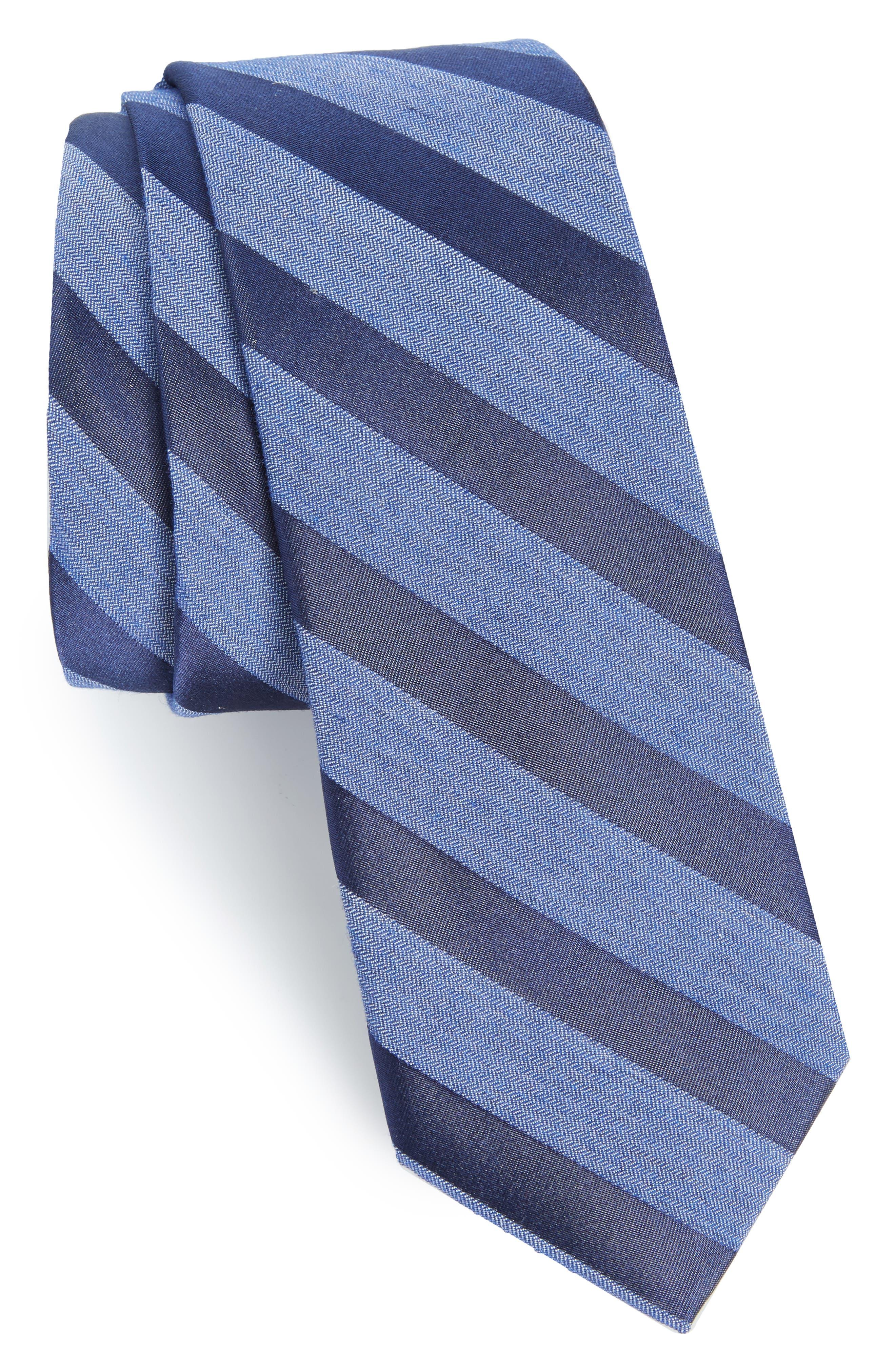 Bar Stripe Silk Blend Skinny Tie,                             Main thumbnail 1, color,                             Navy