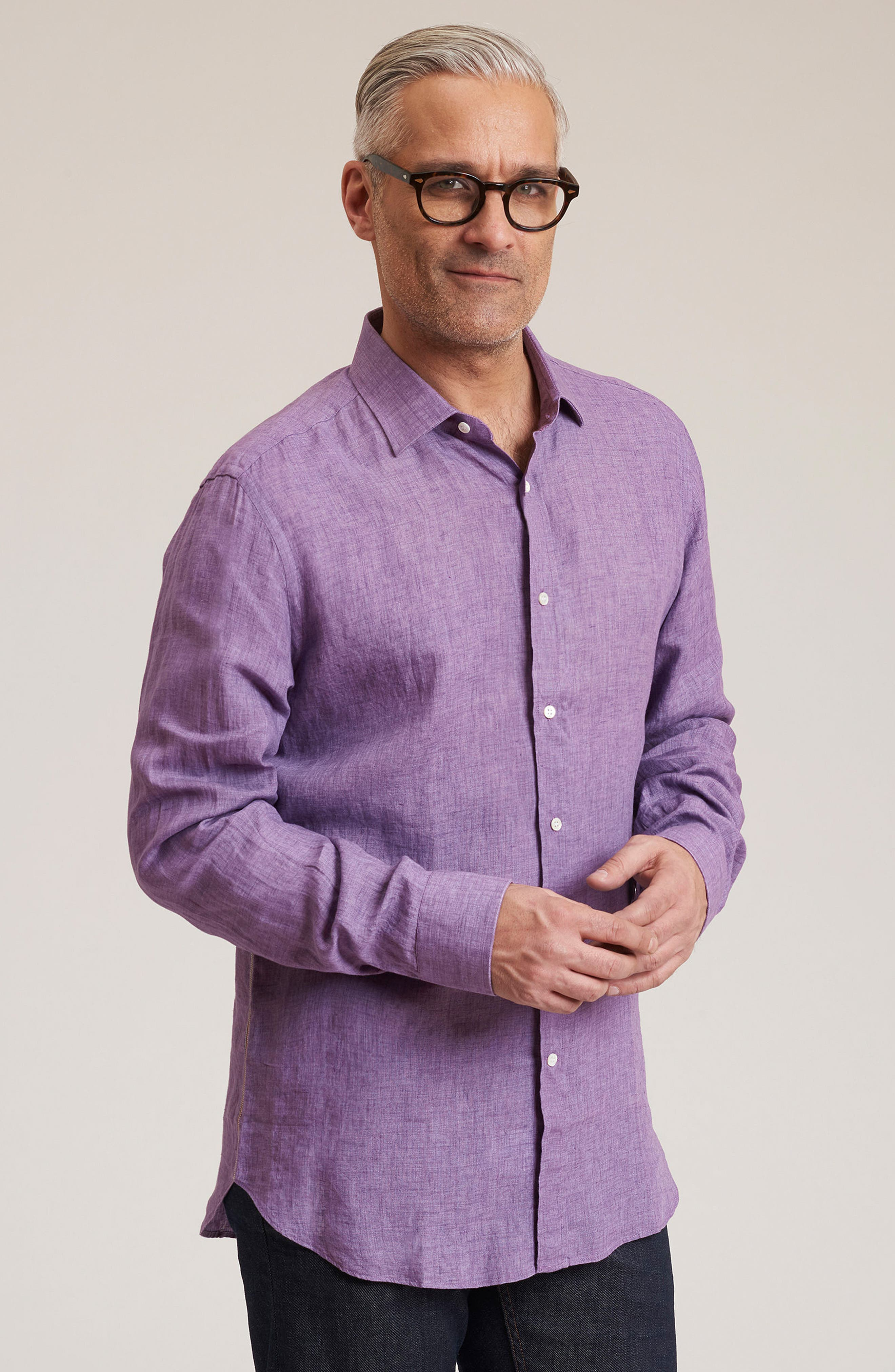 Delave Regular Fit Linen Sport Shirt,                             Alternate thumbnail 5, color,                             Purple