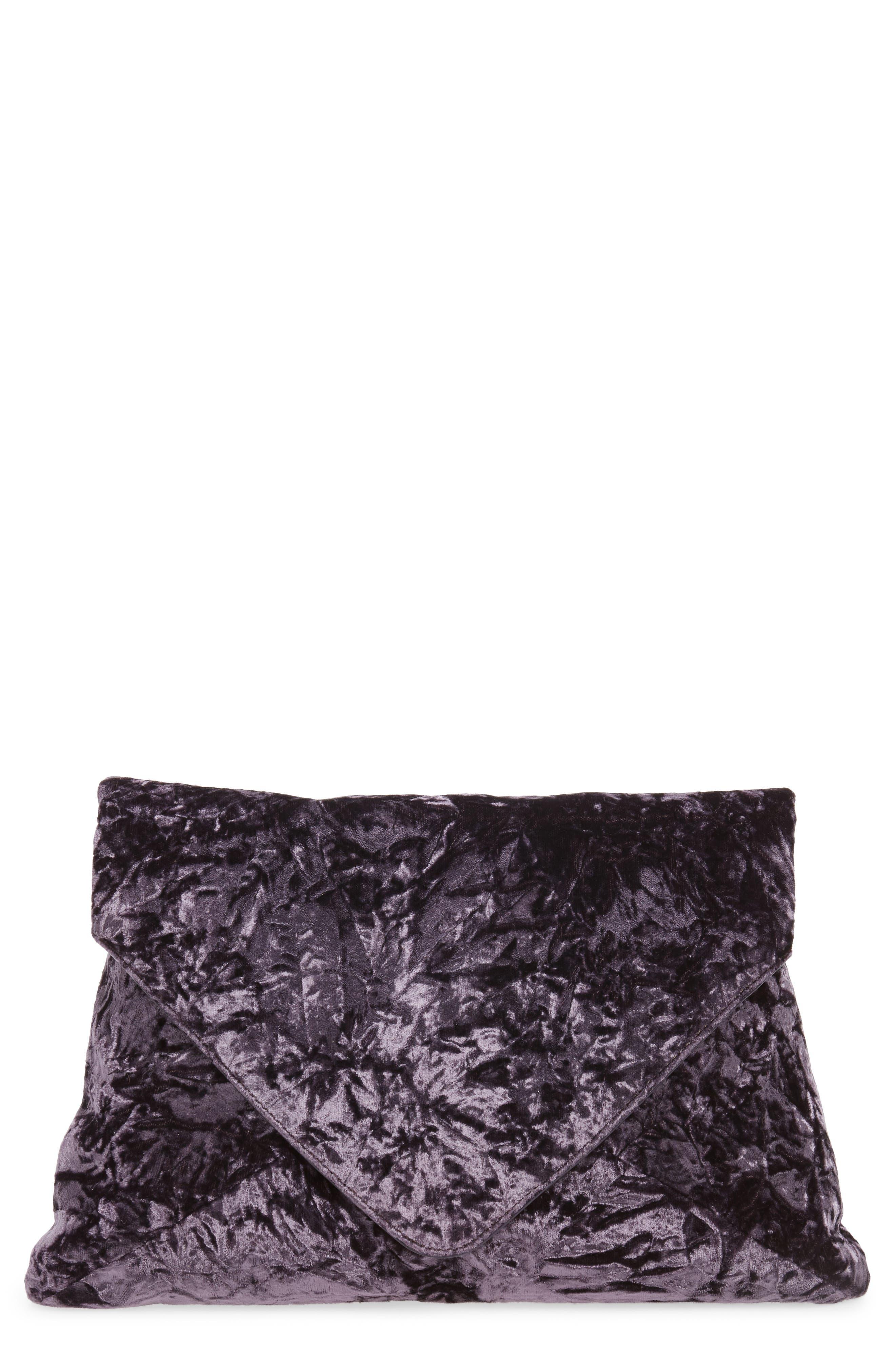 Velvet Envelope Clutch,                         Main,                         color, Purple