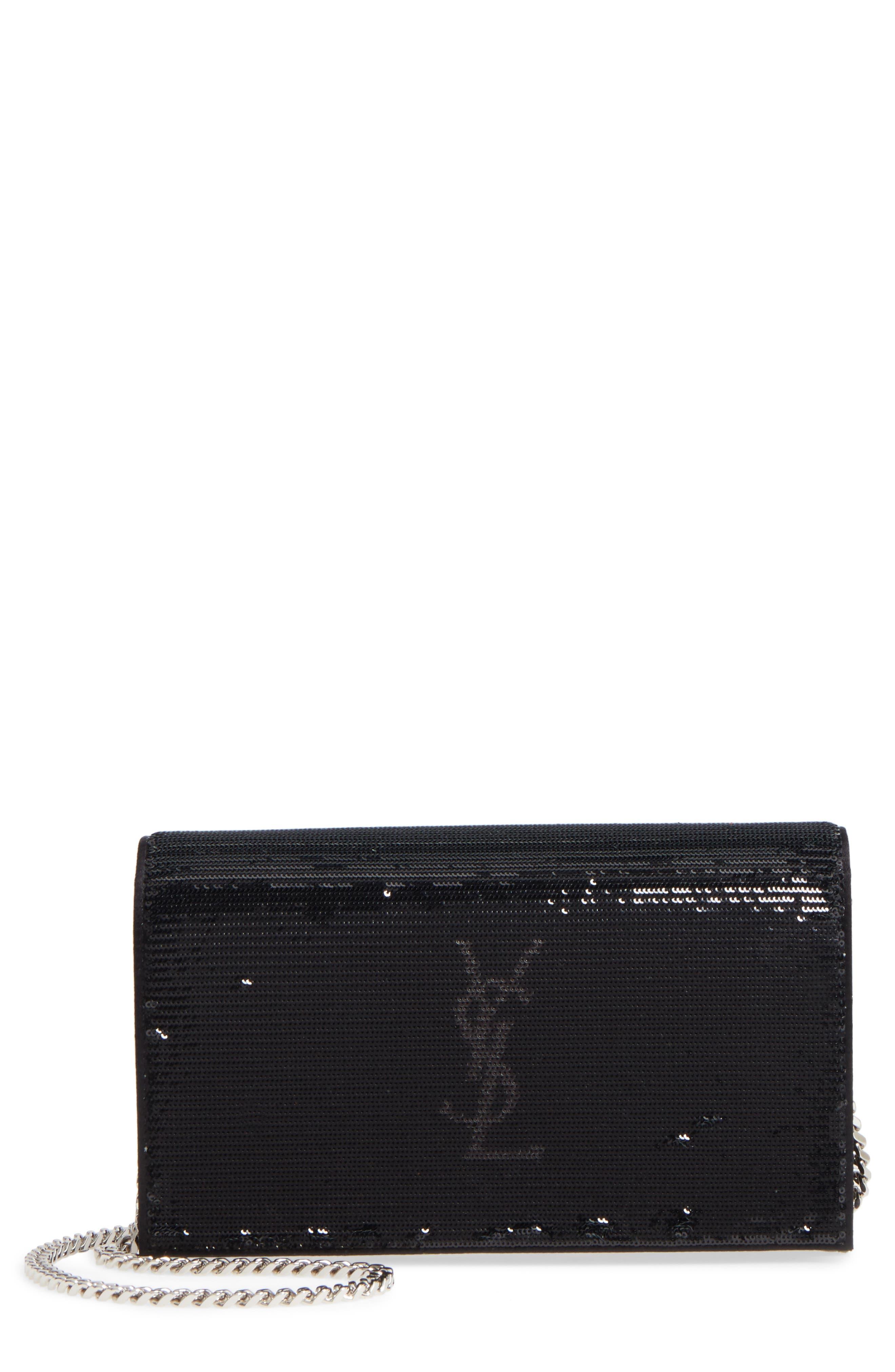 Monogram Flip Sequin Wallet on a Chain,                             Main thumbnail 1, color,                             Noir/ Metallic