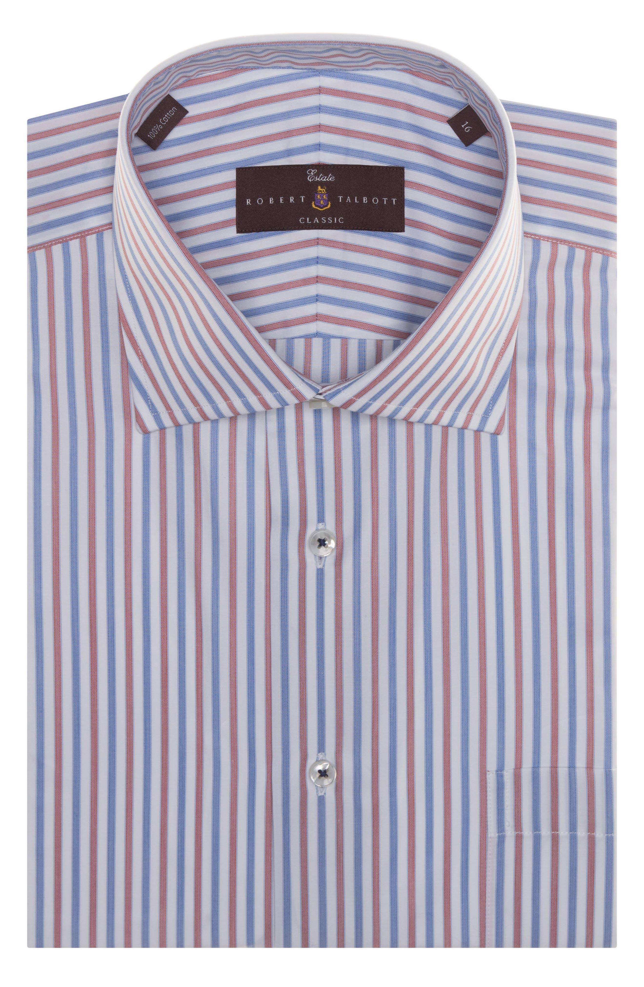 Tailored Fit Stripe Dress Shirt,                             Main thumbnail 1, color,                             Blue