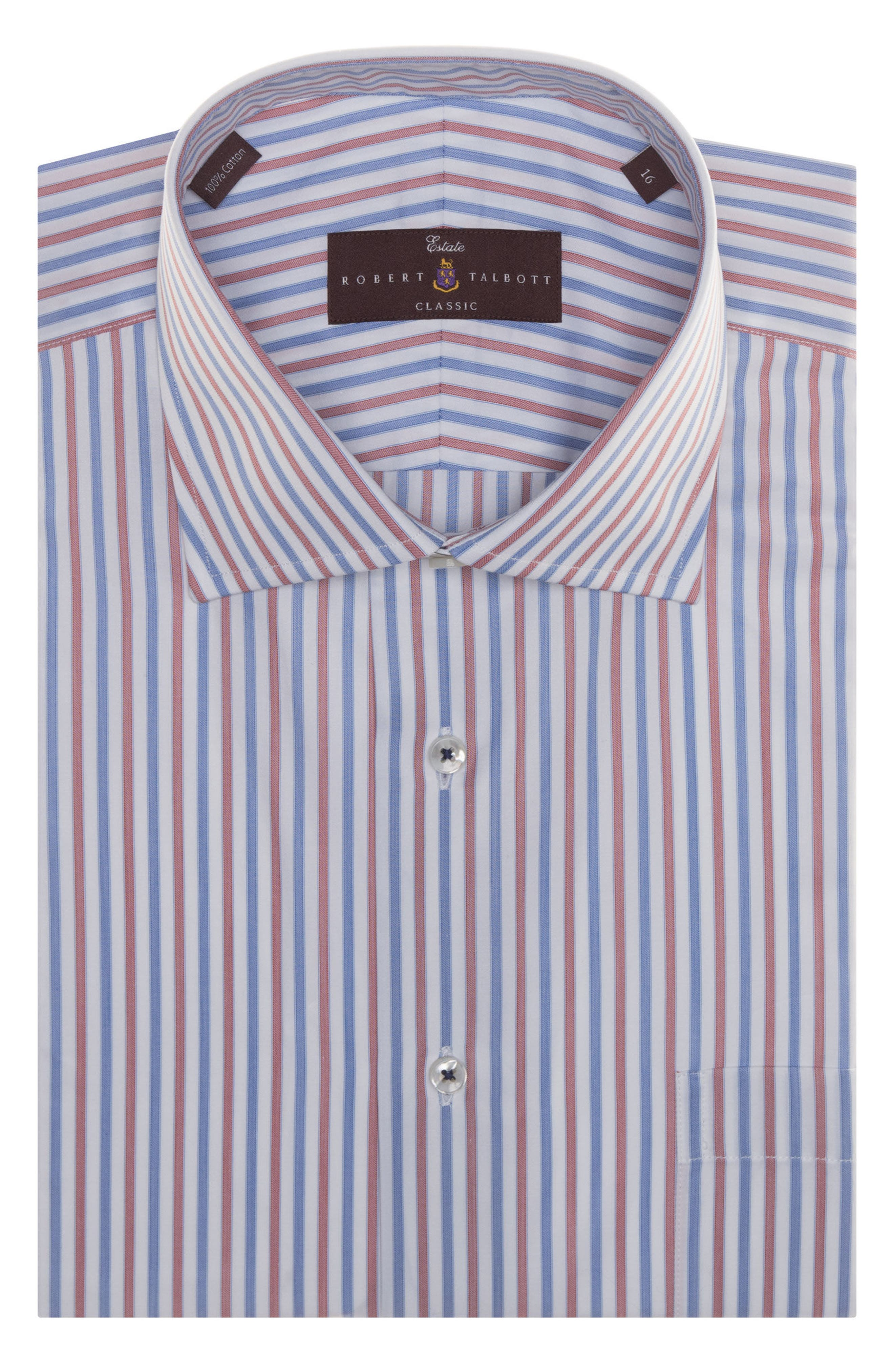 Tailored Fit Stripe Dress Shirt,                         Main,                         color, Blue