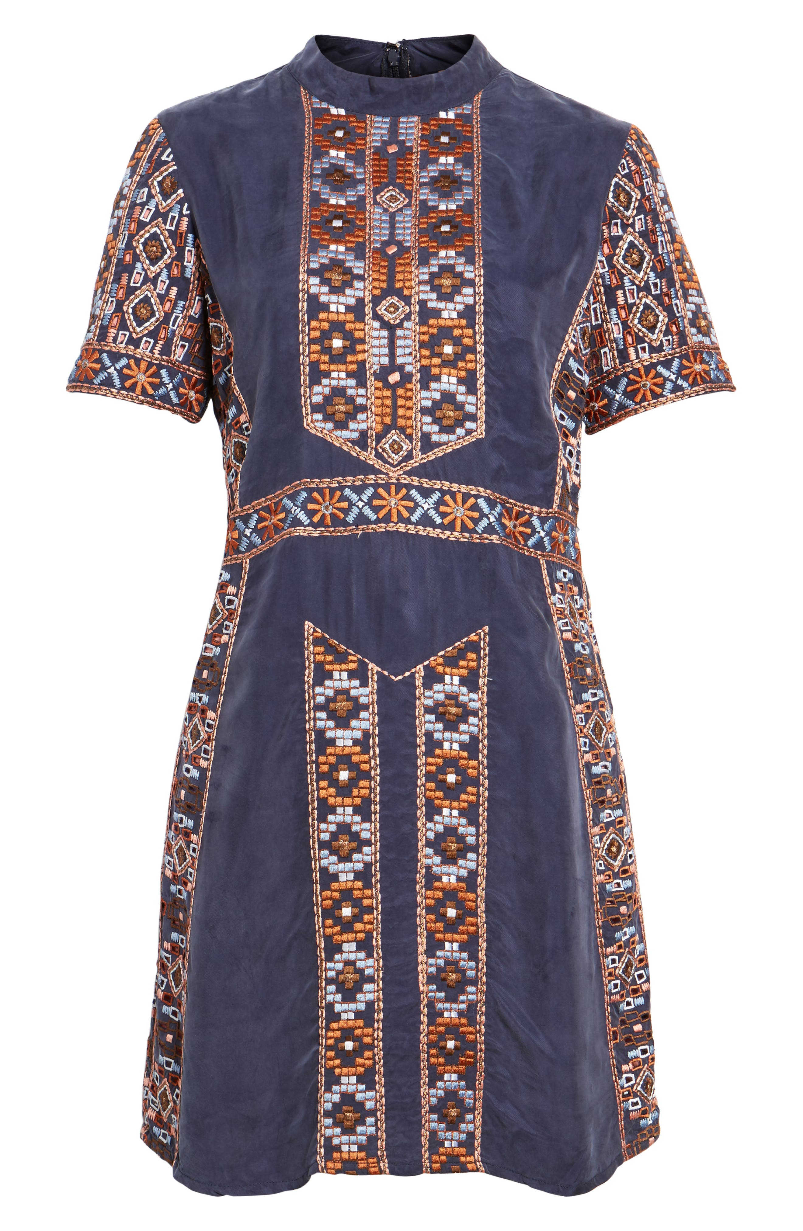 Luton Embroidered A-Line Dress,                             Alternate thumbnail 6, color,                             Navy