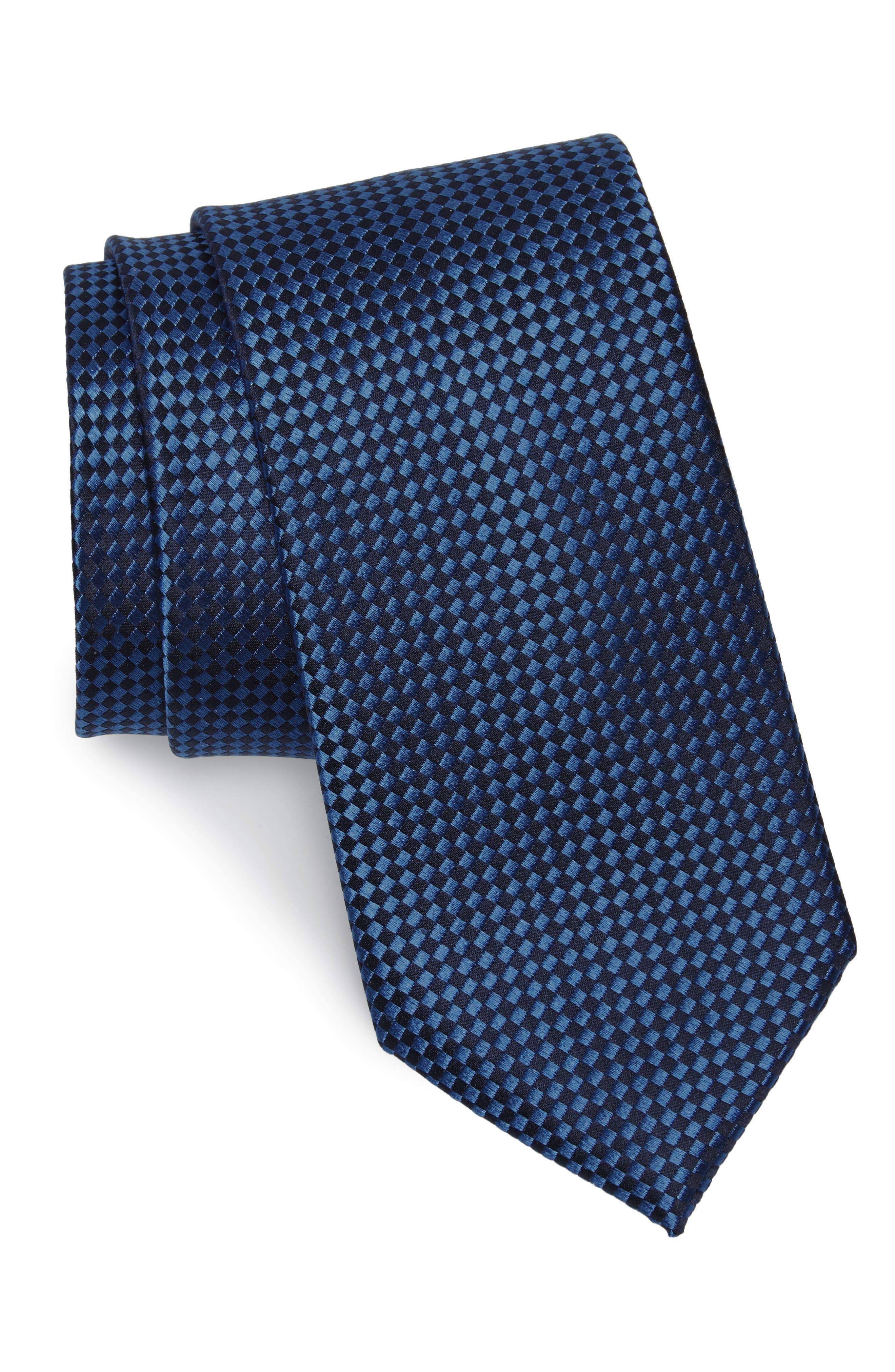 Norman Neat Silk Tie,                         Main,                         color, Sapphire