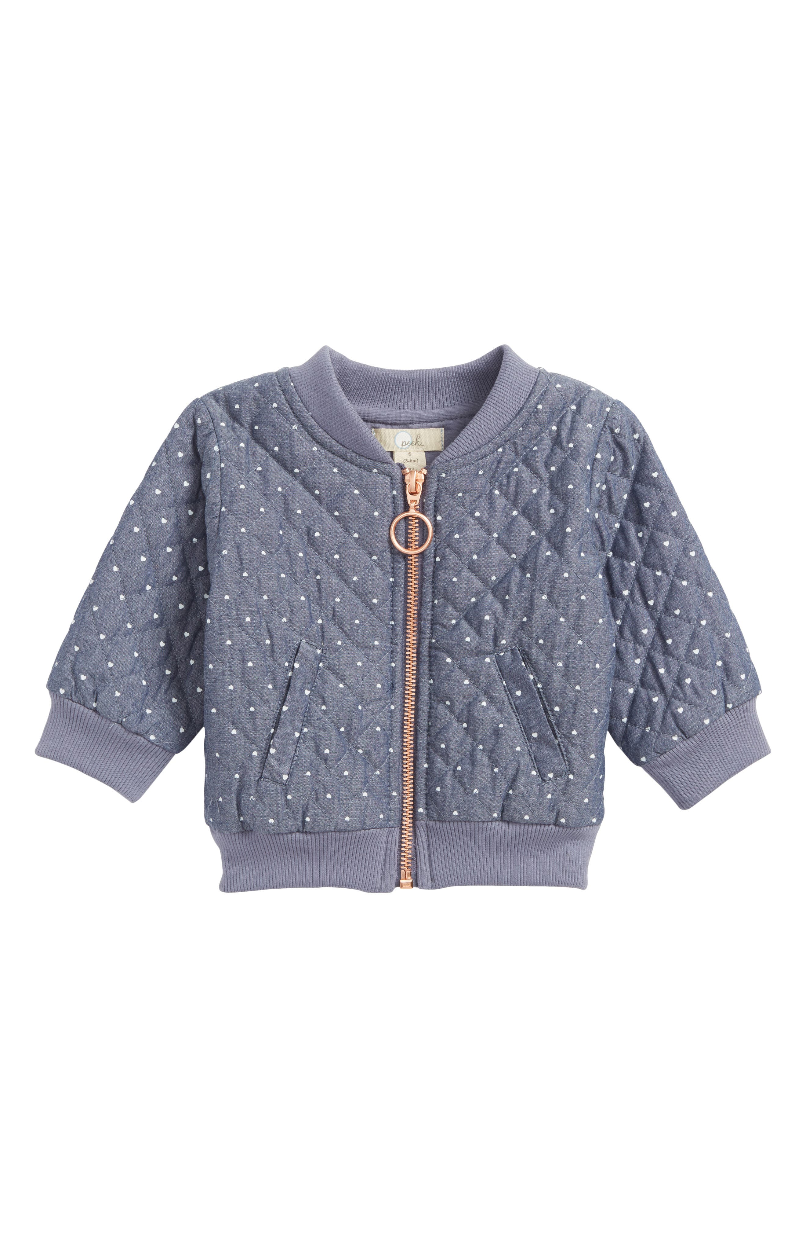 Heart Print Quilted Jacket,                         Main,                         color, Chambray