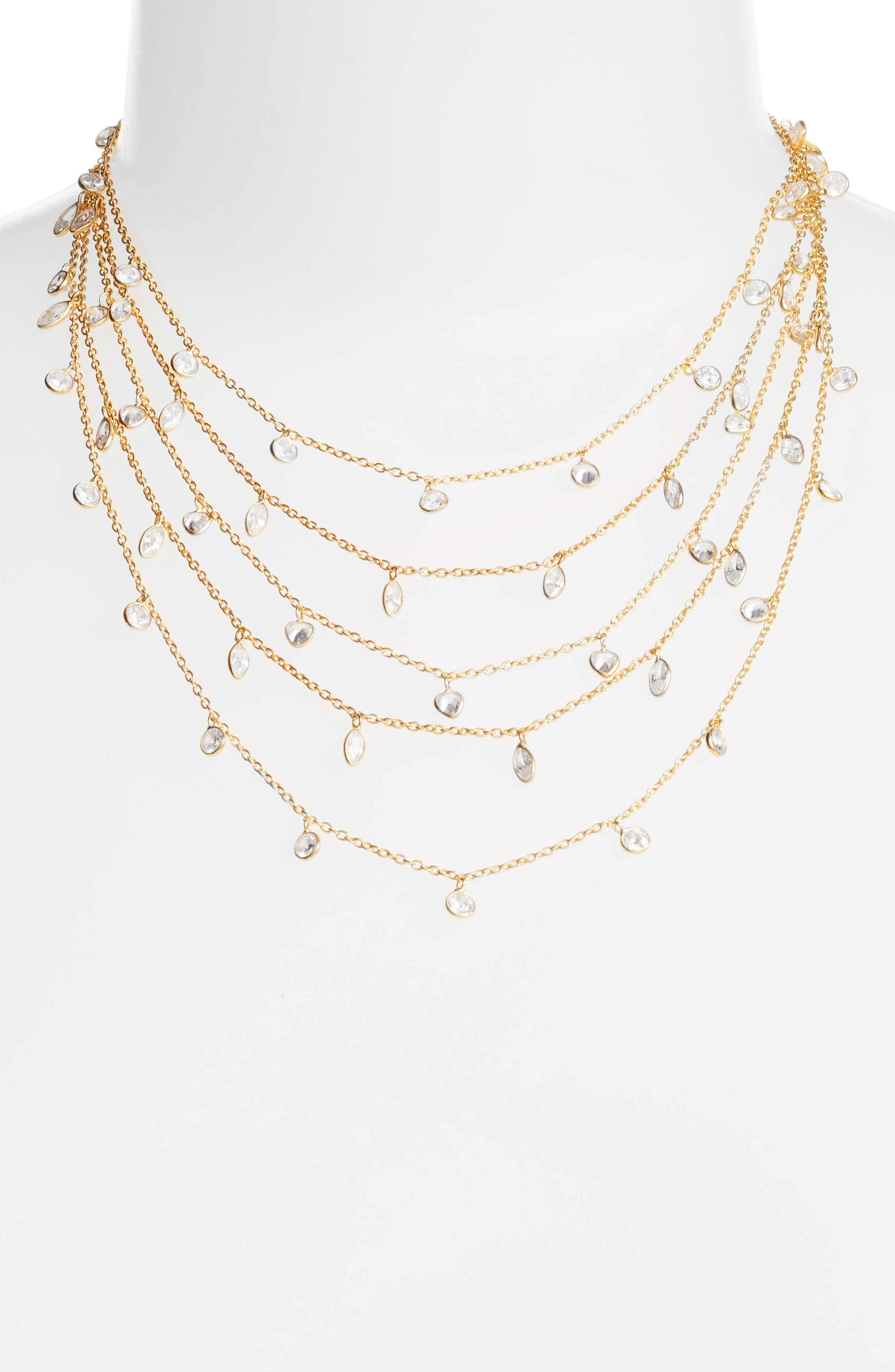Multistrand Cubic Zirconia Necklace,                         Main,                         color, Gold