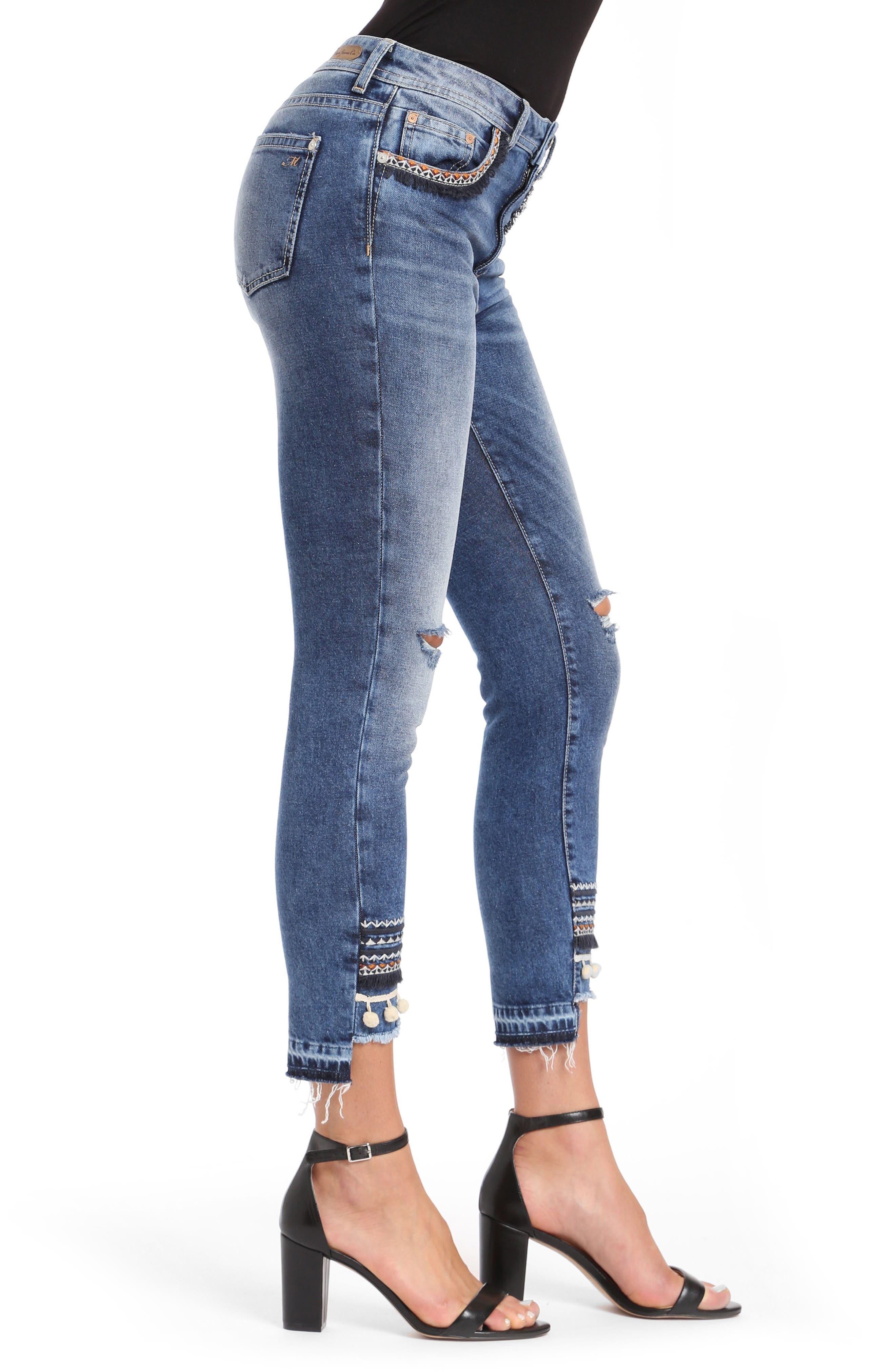 Tess Super Skinny Pompom Jeans,                             Alternate thumbnail 3, color,                             Dark Desert Deco