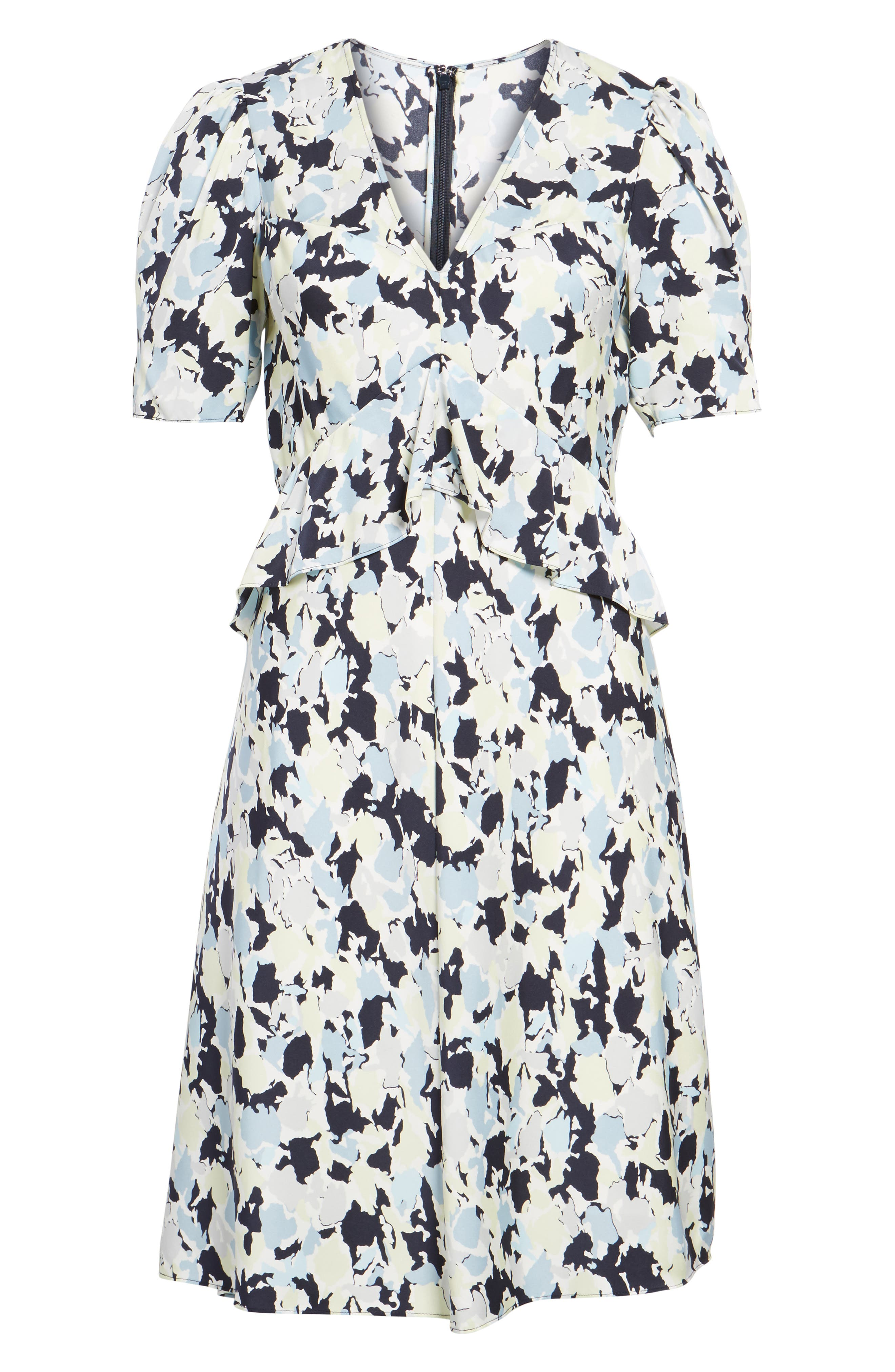 Ruffle Front A-Line Stretch Silk Dress,                             Alternate thumbnail 6, color,                             Navy Night Gia Print