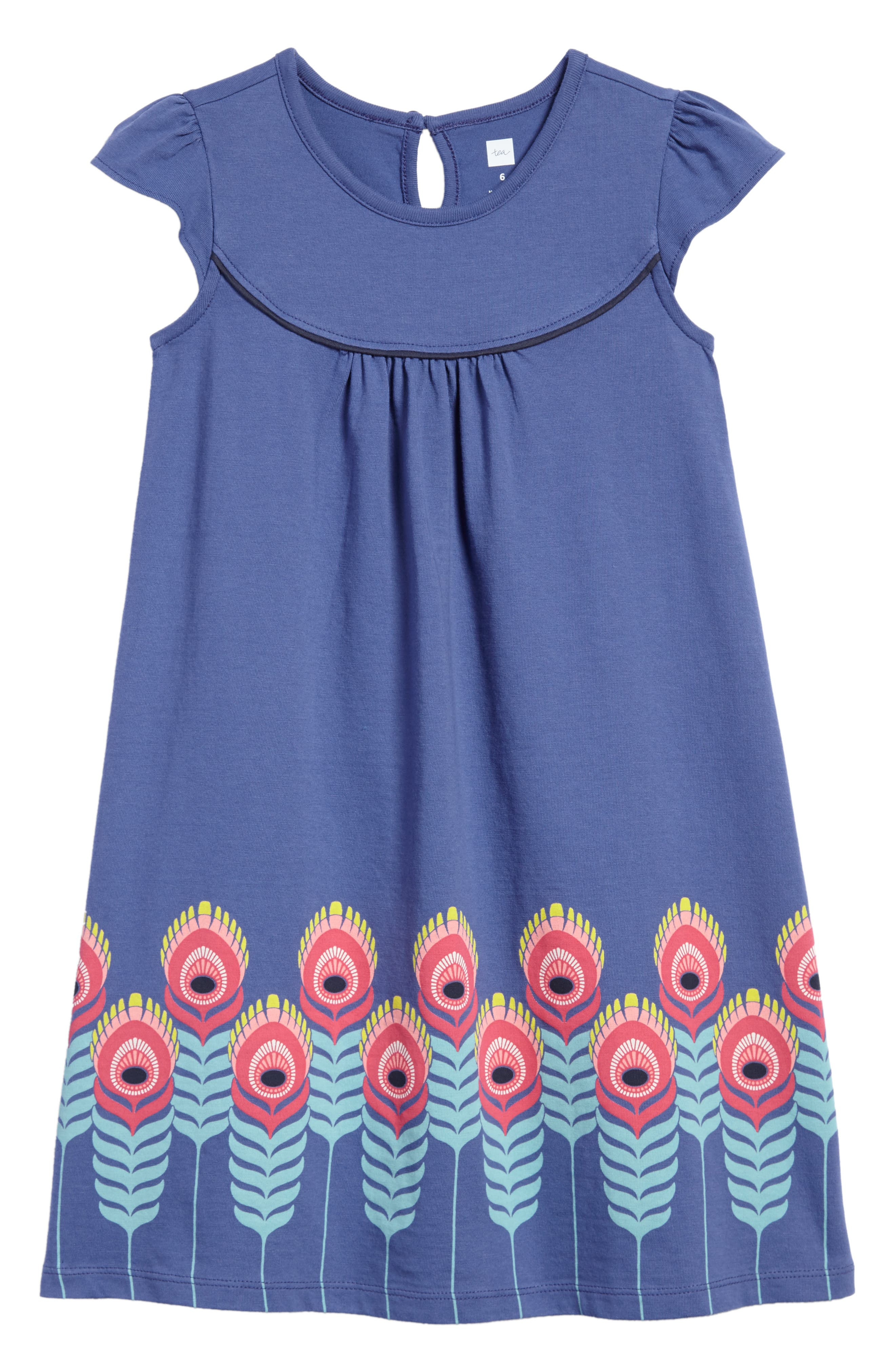 Feather Graphic Shift Dress,                             Main thumbnail 1, color,                             Bluebell
