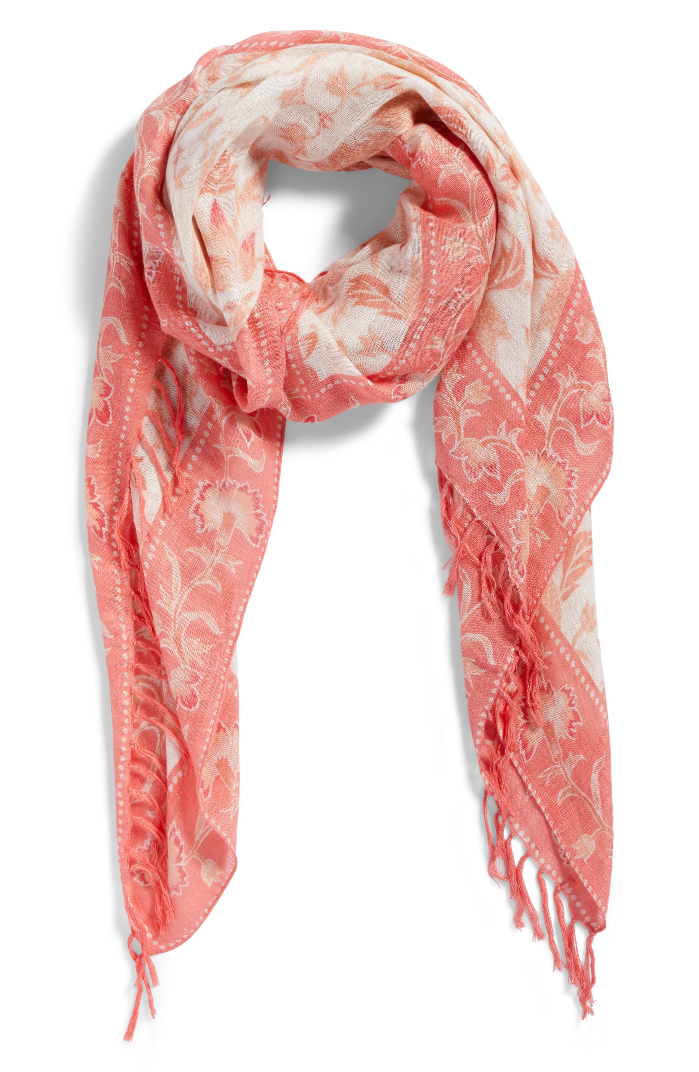 Mixed Print Scarf,                             Alternate thumbnail 2, color,                             Coral Floral Breeze