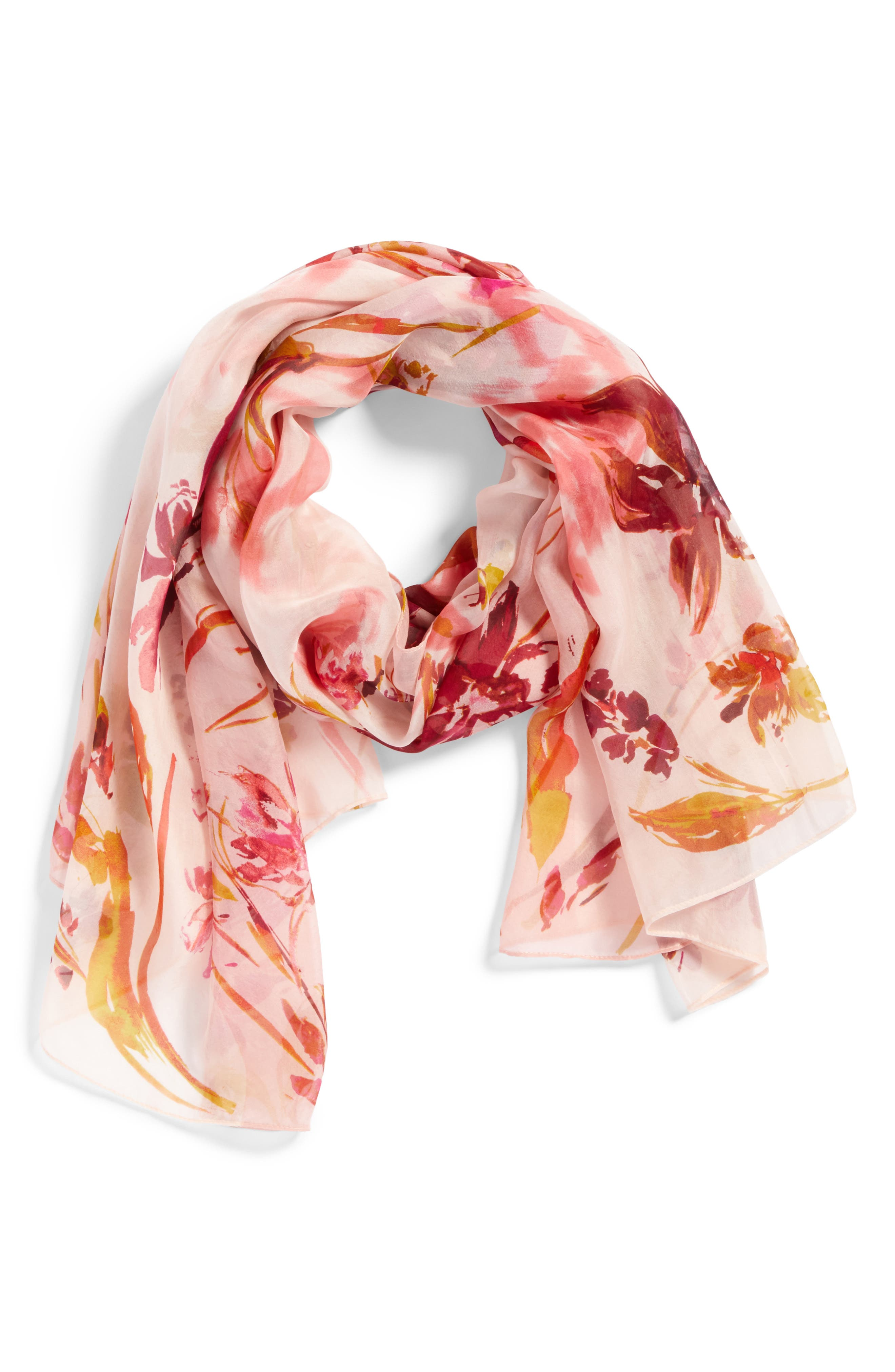 Silk Chiffon Oblong Scarf,                             Alternate thumbnail 2, color,                             Pink Mapped Floral Mix