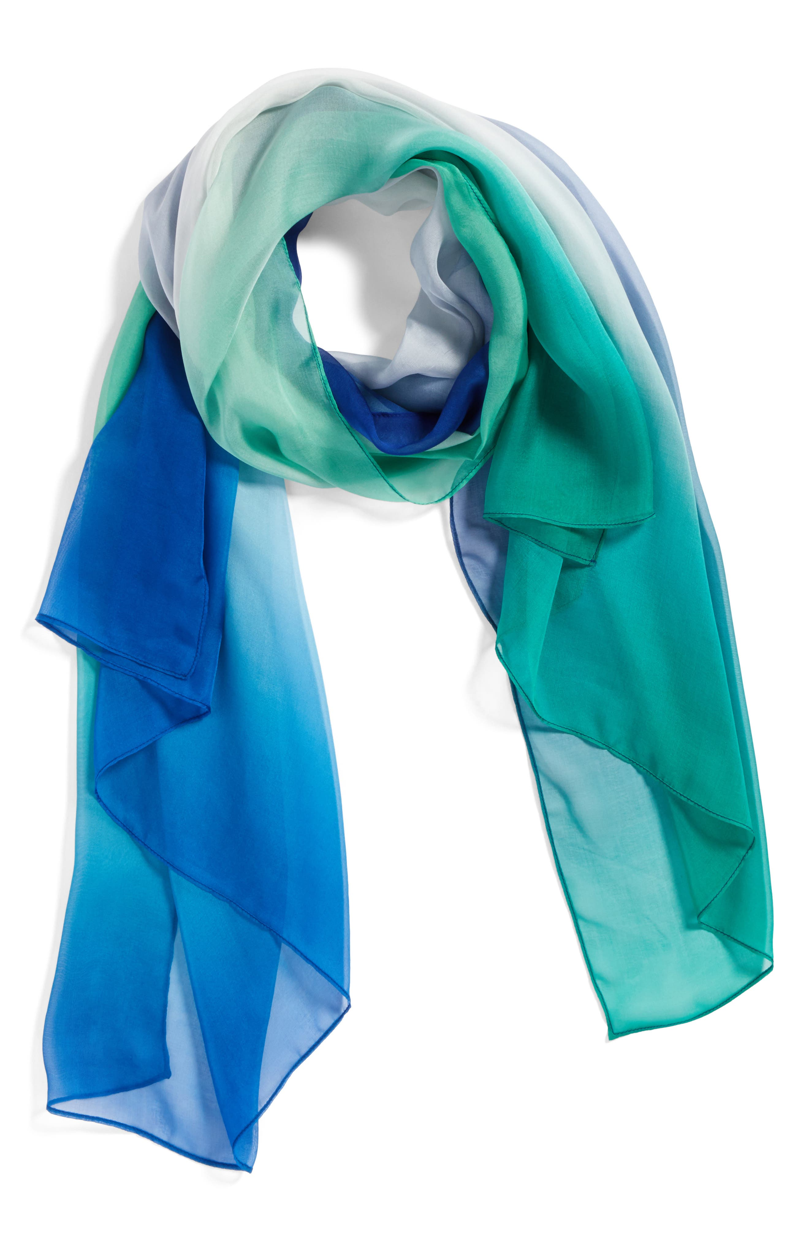 Silk Chiffon Oblong Scarf,                             Alternate thumbnail 2, color,                             Teal Ombre Whisper