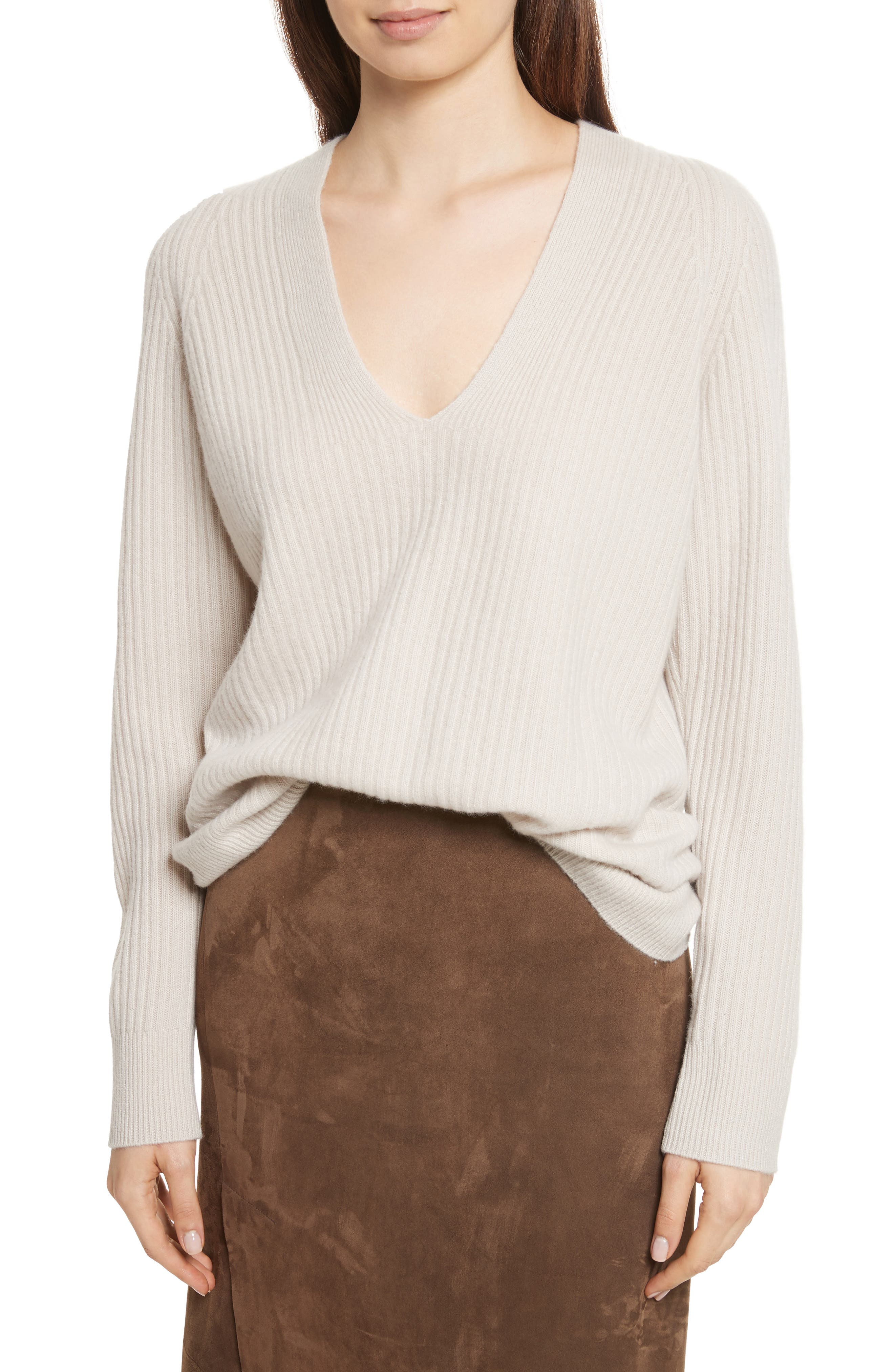 Wool Blend Raglan V-Neck Sweater,                             Main thumbnail 1, color,                             Chalet