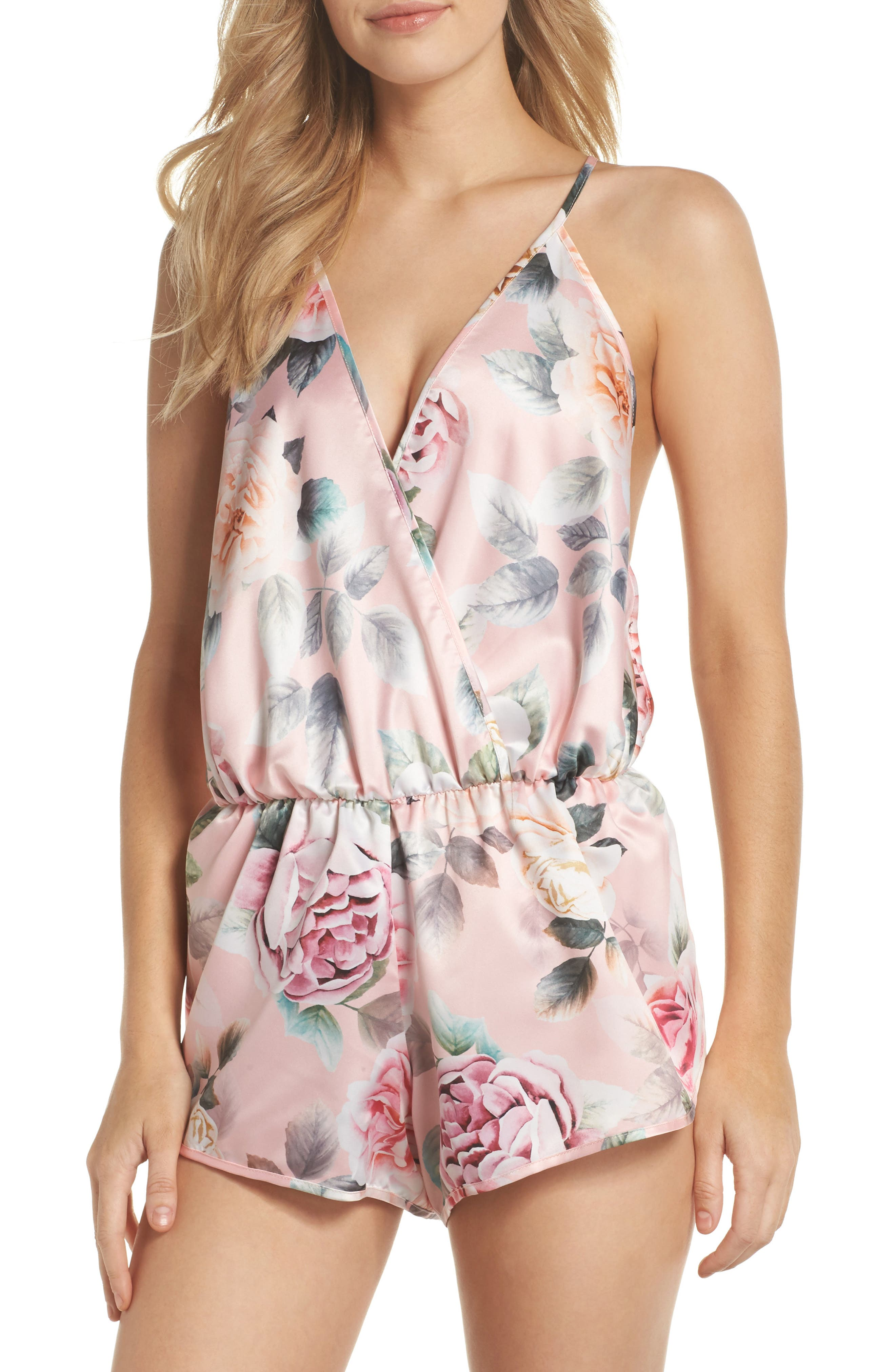 Lilith Satin Romper,                         Main,                         color, Pink