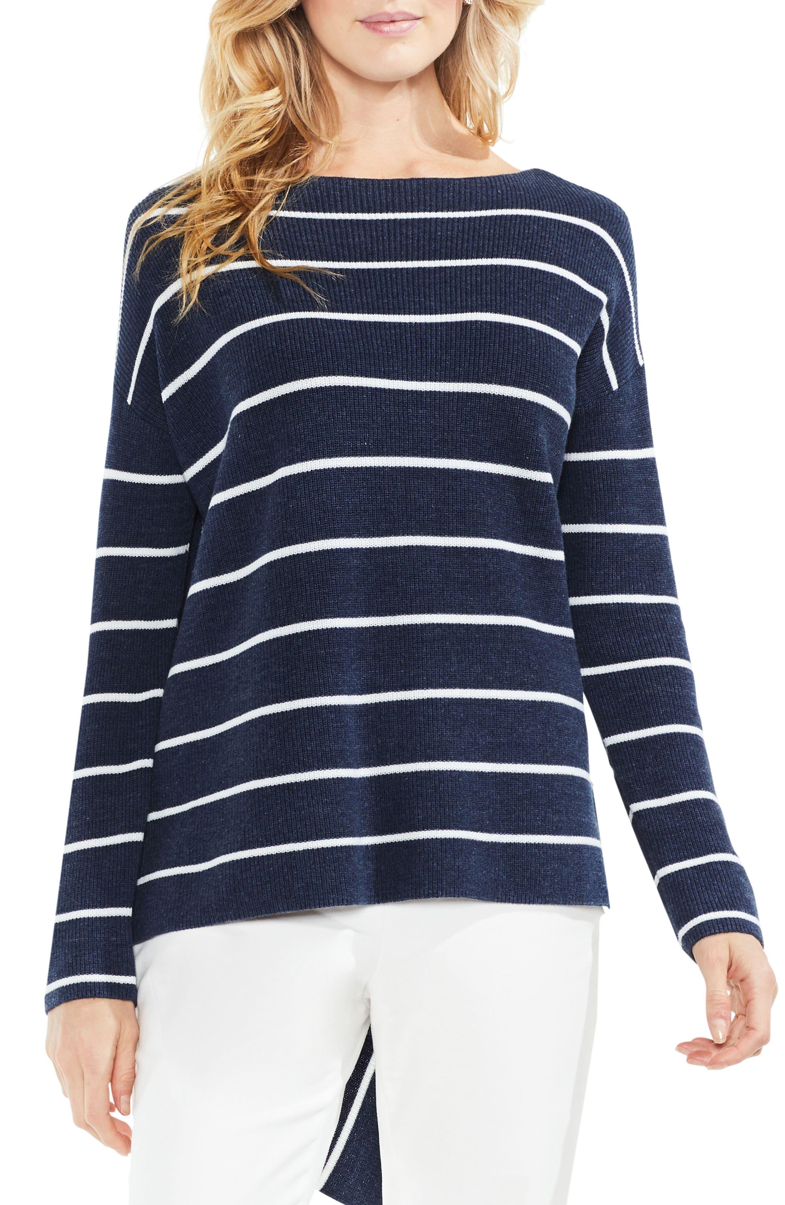 Asymmetrical Hem Stripe Sweater,                             Main thumbnail 1, color,                             Indigo Night Heather
