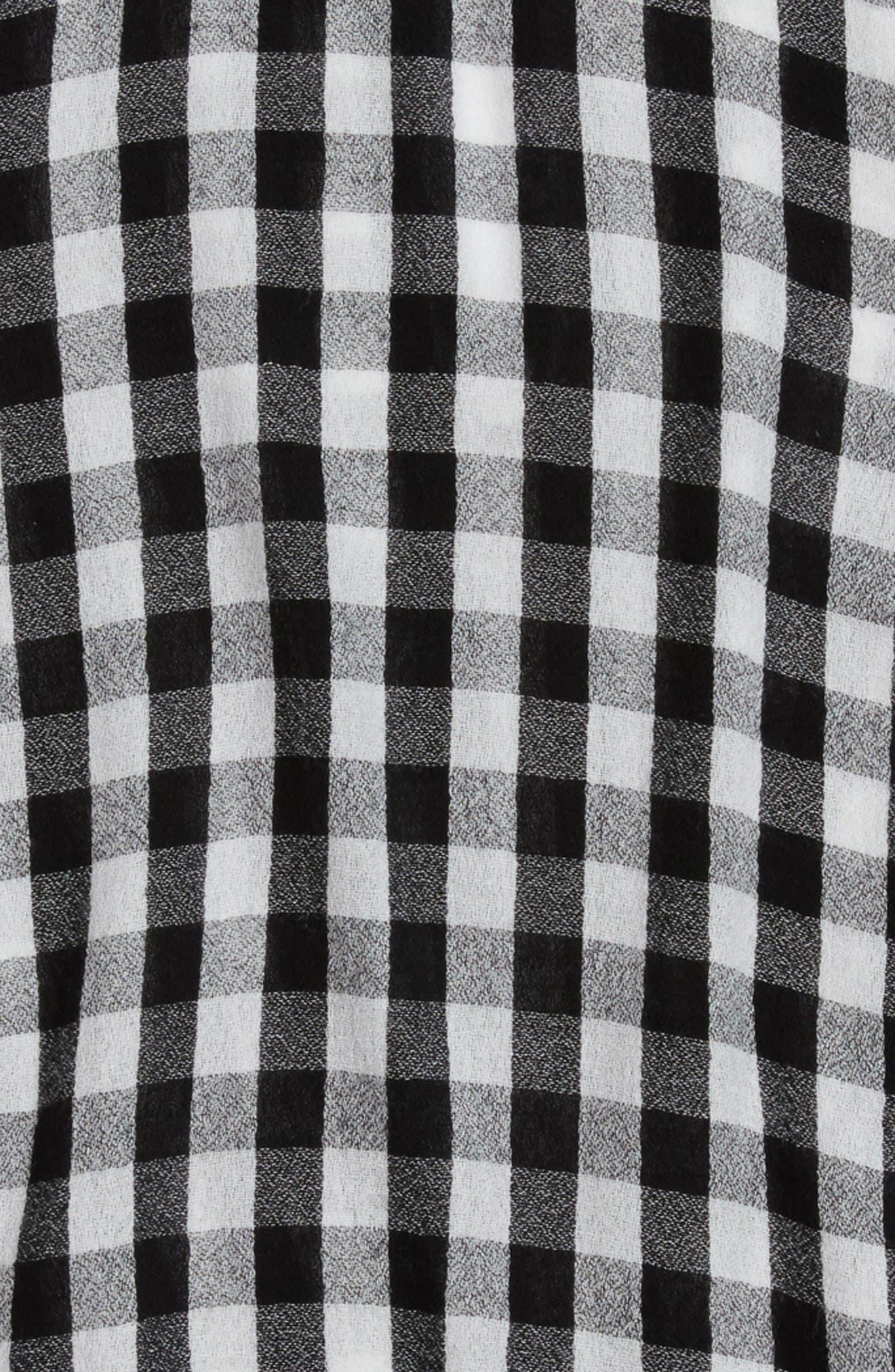 Bell Sleeve Top,                             Alternate thumbnail 2, color,                             Black- White Gingham