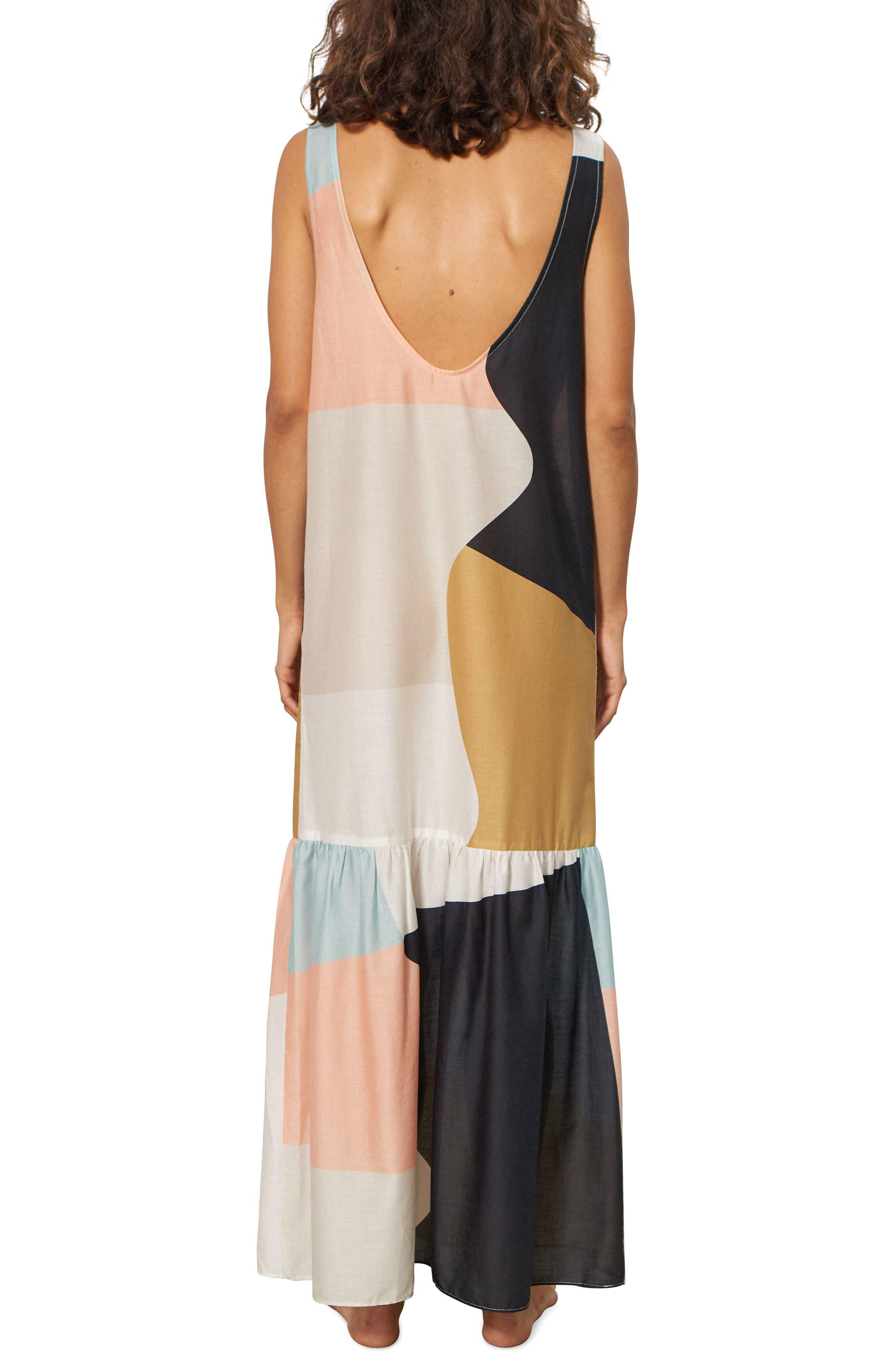 Valentina Cover-Up Dress,                             Alternate thumbnail 2, color,                             Peach Multi