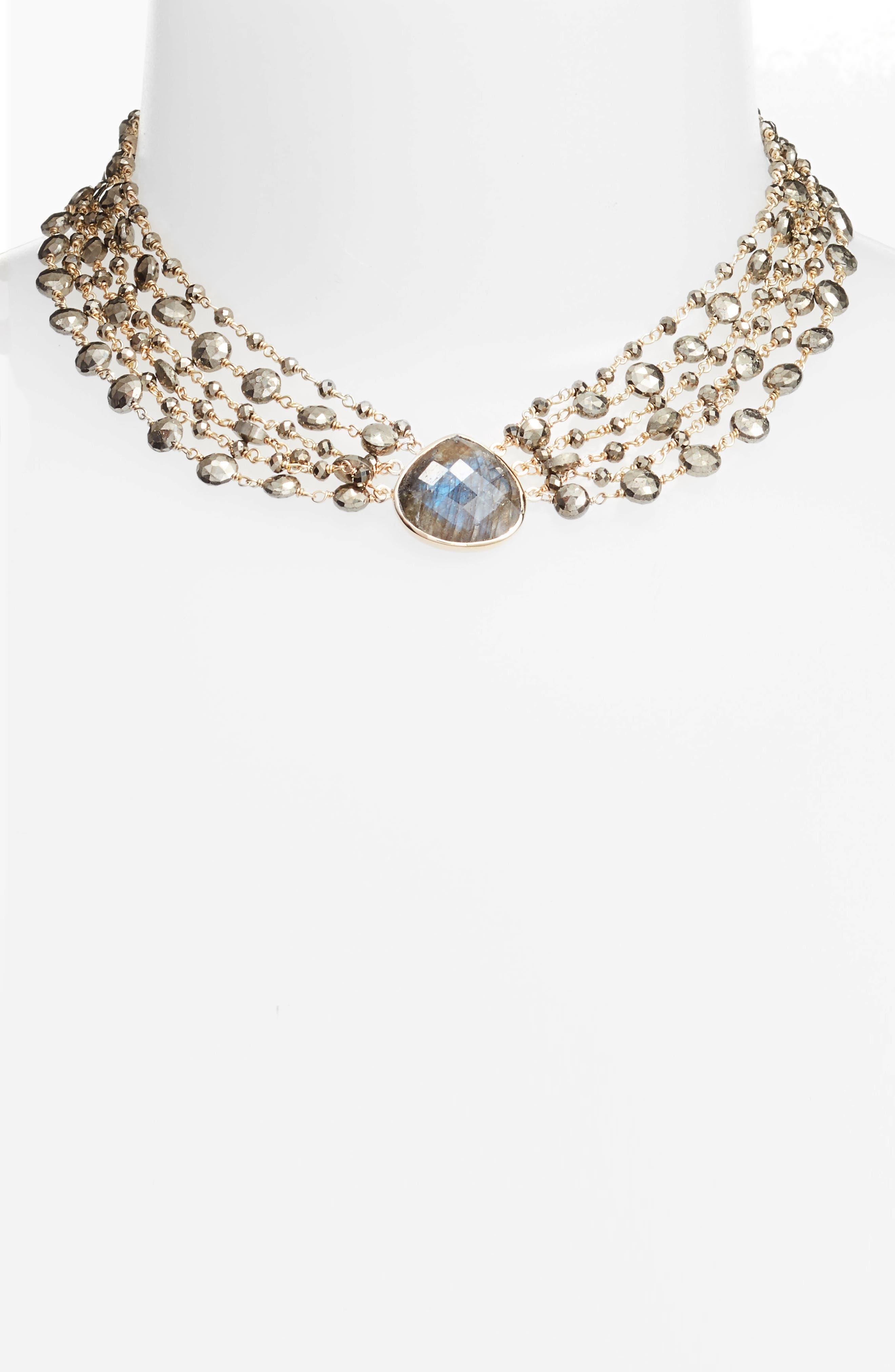 Melania Semiprecious Stone Collar Necklace,                             Main thumbnail 1, color,                             Labradorite