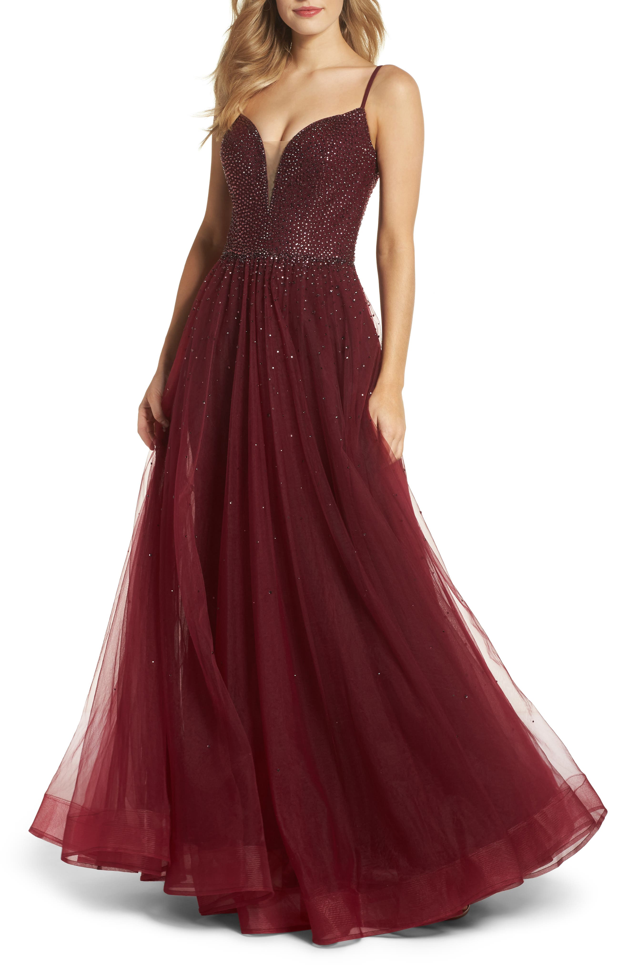Embellished Illusion Plunge Gown,                             Main thumbnail 1, color,                             Garnet