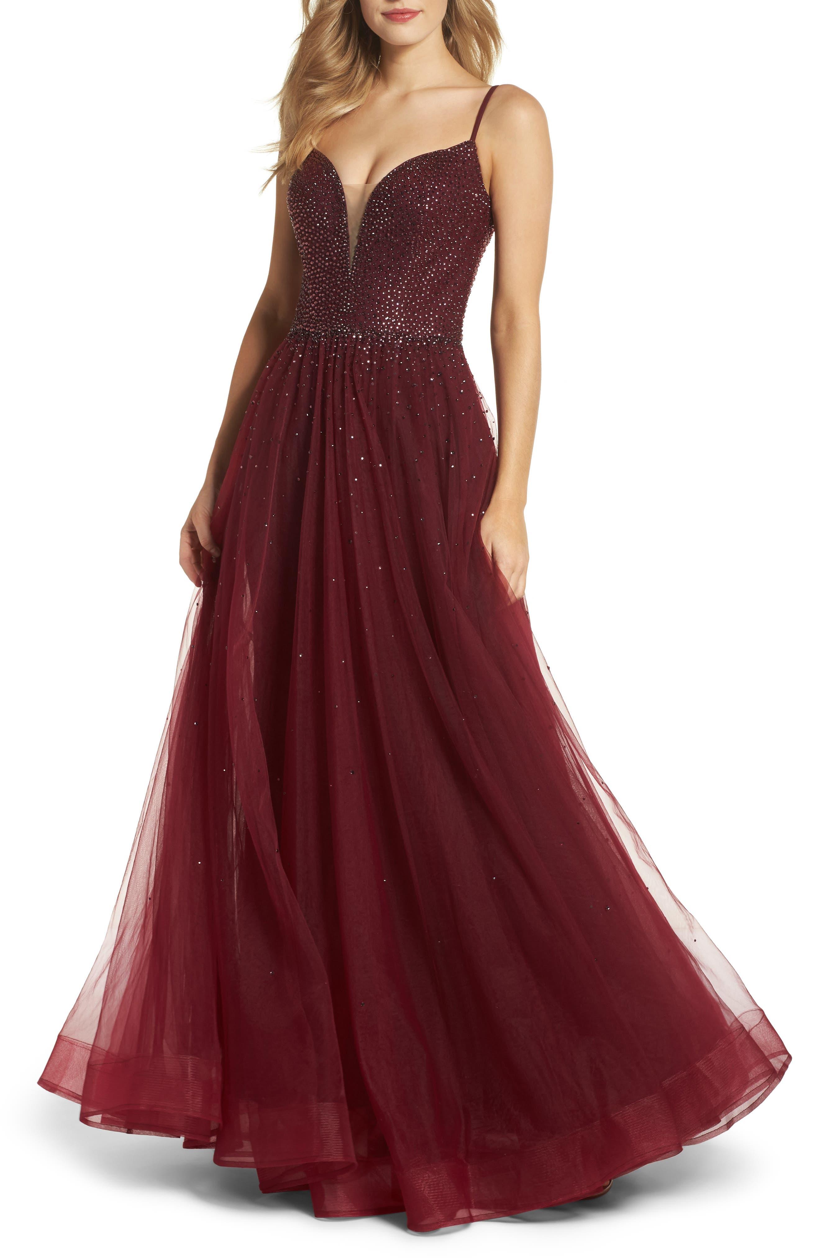 Embellished Illusion Plunge Gown,                         Main,                         color, Garnet