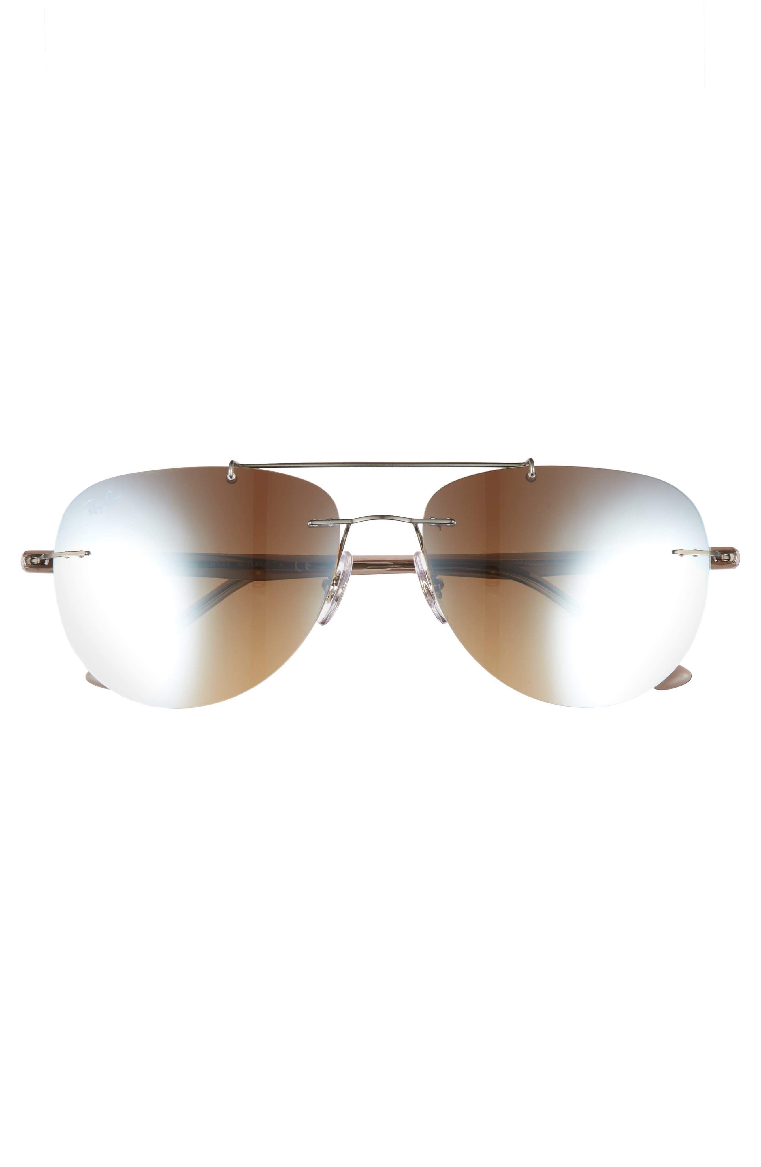 Phantos 57mm Mirrored Rimless Aviator Sunglasses,                             Alternate thumbnail 2, color,                             Silver