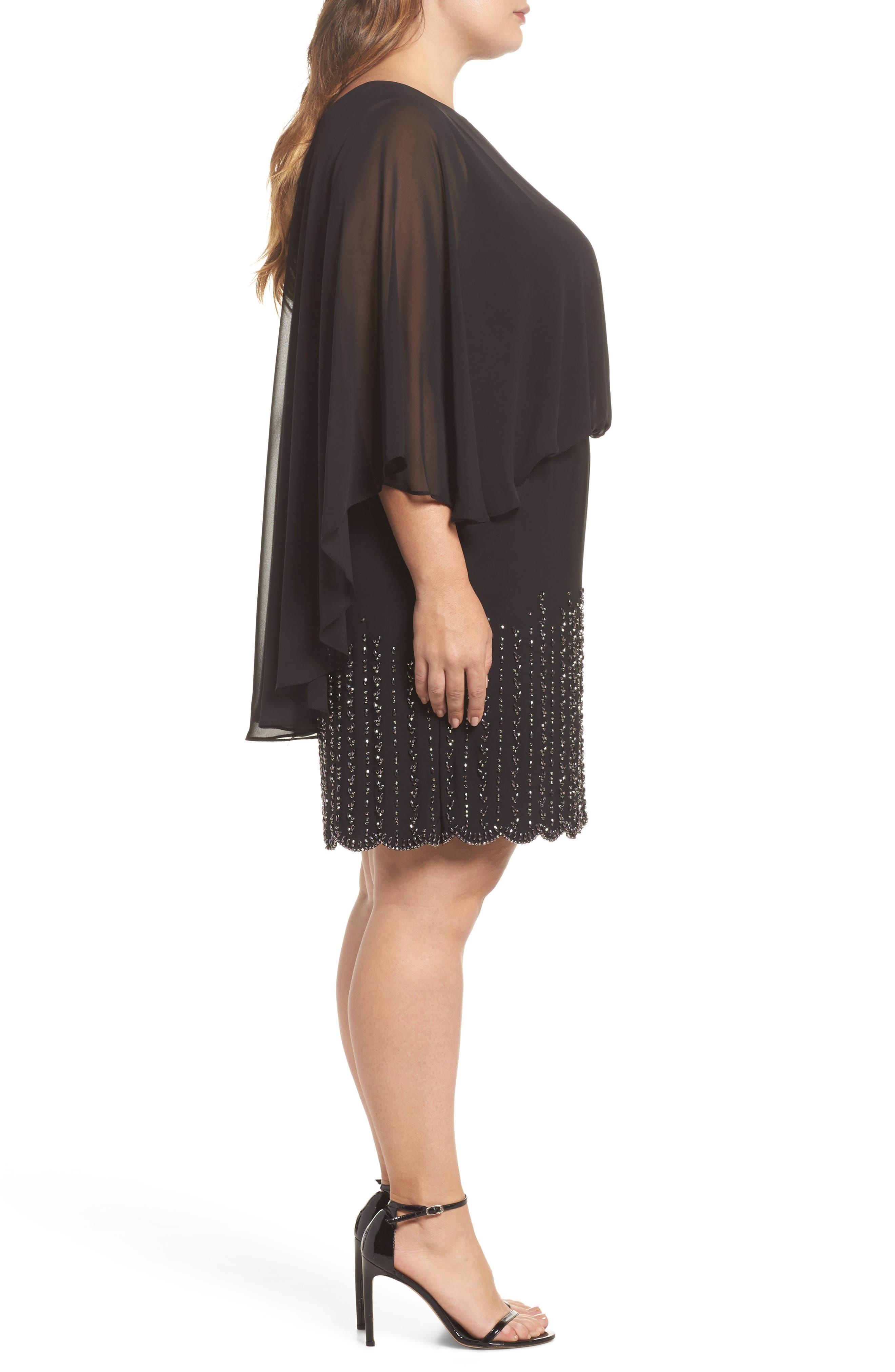 Beaded Overlay Dress,                             Alternate thumbnail 3, color,                             Black
