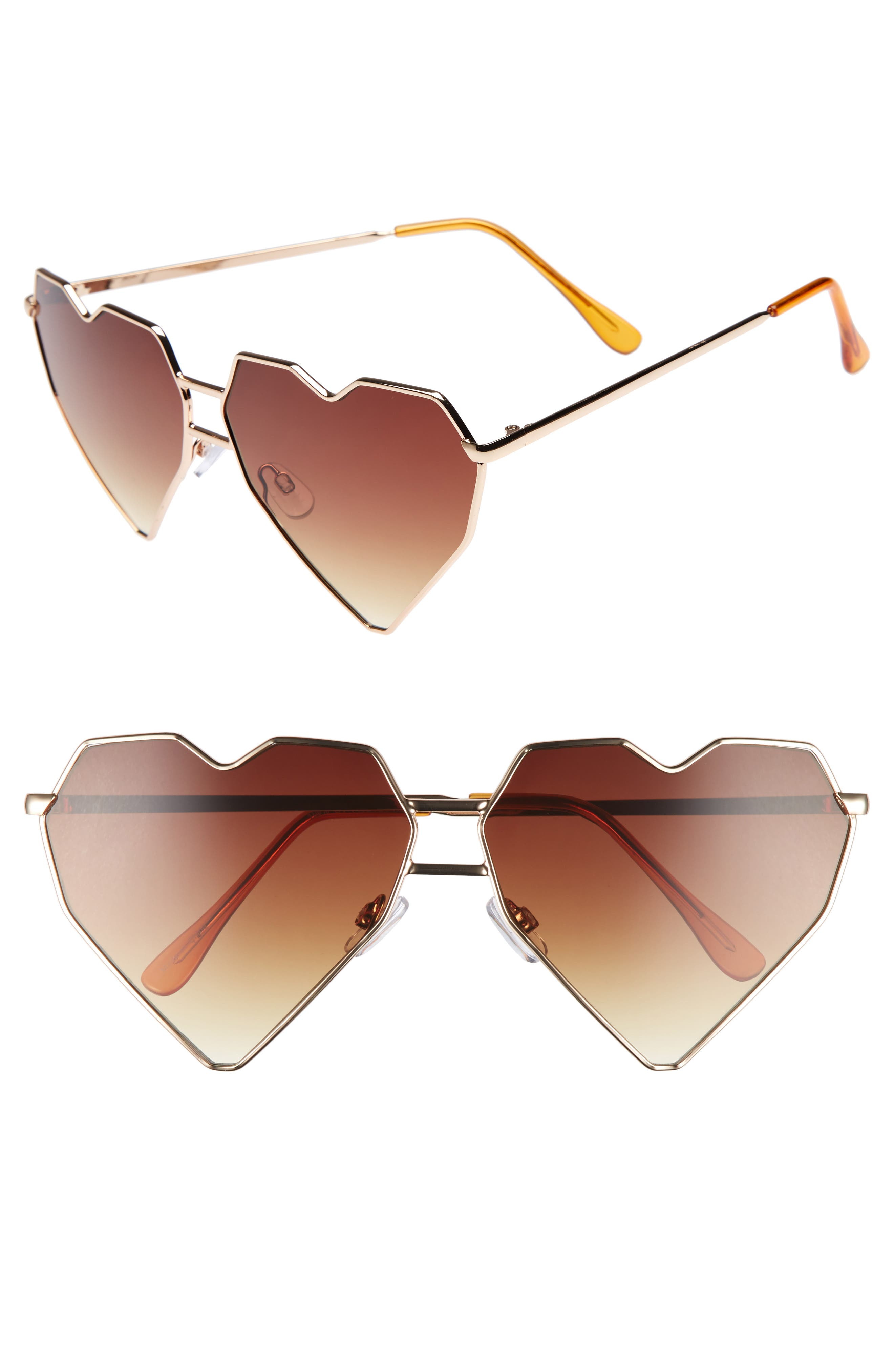 64mm Heart Shaped Sunglasses,                         Main,                         color, Gold