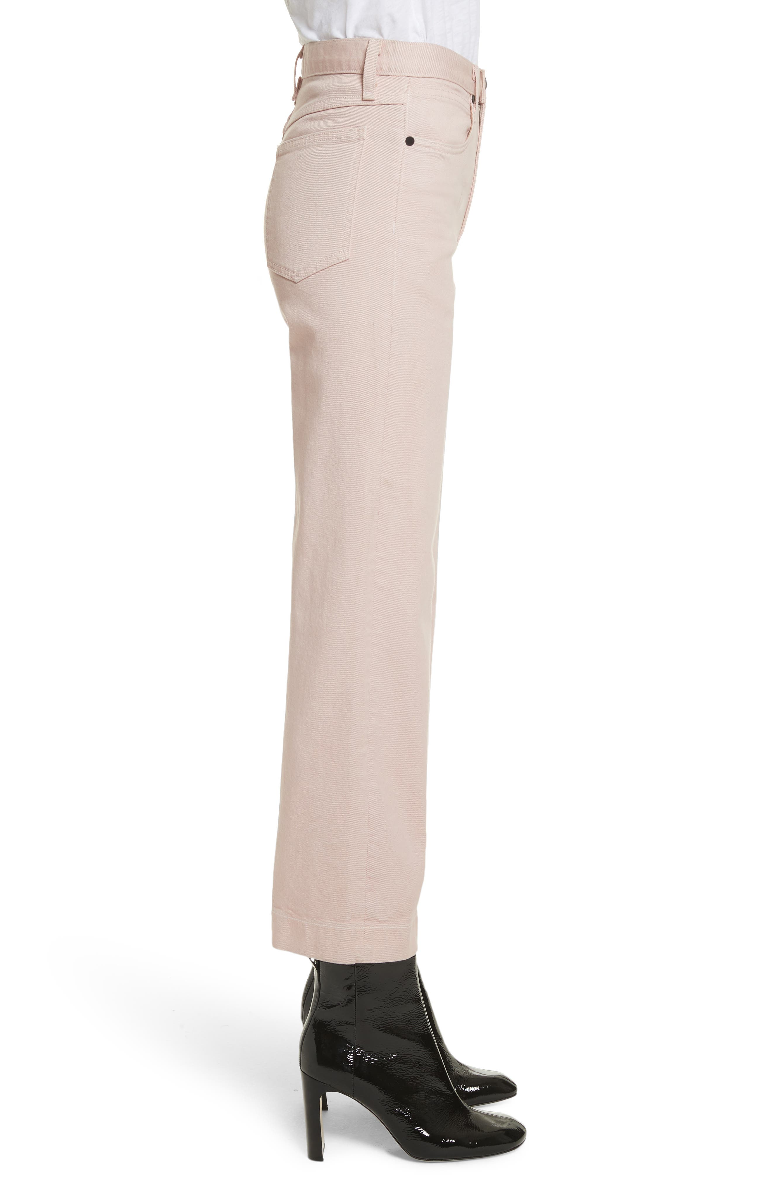 Justine High Waist Trouser Jeans,                             Alternate thumbnail 3, color,                             Blush Twill