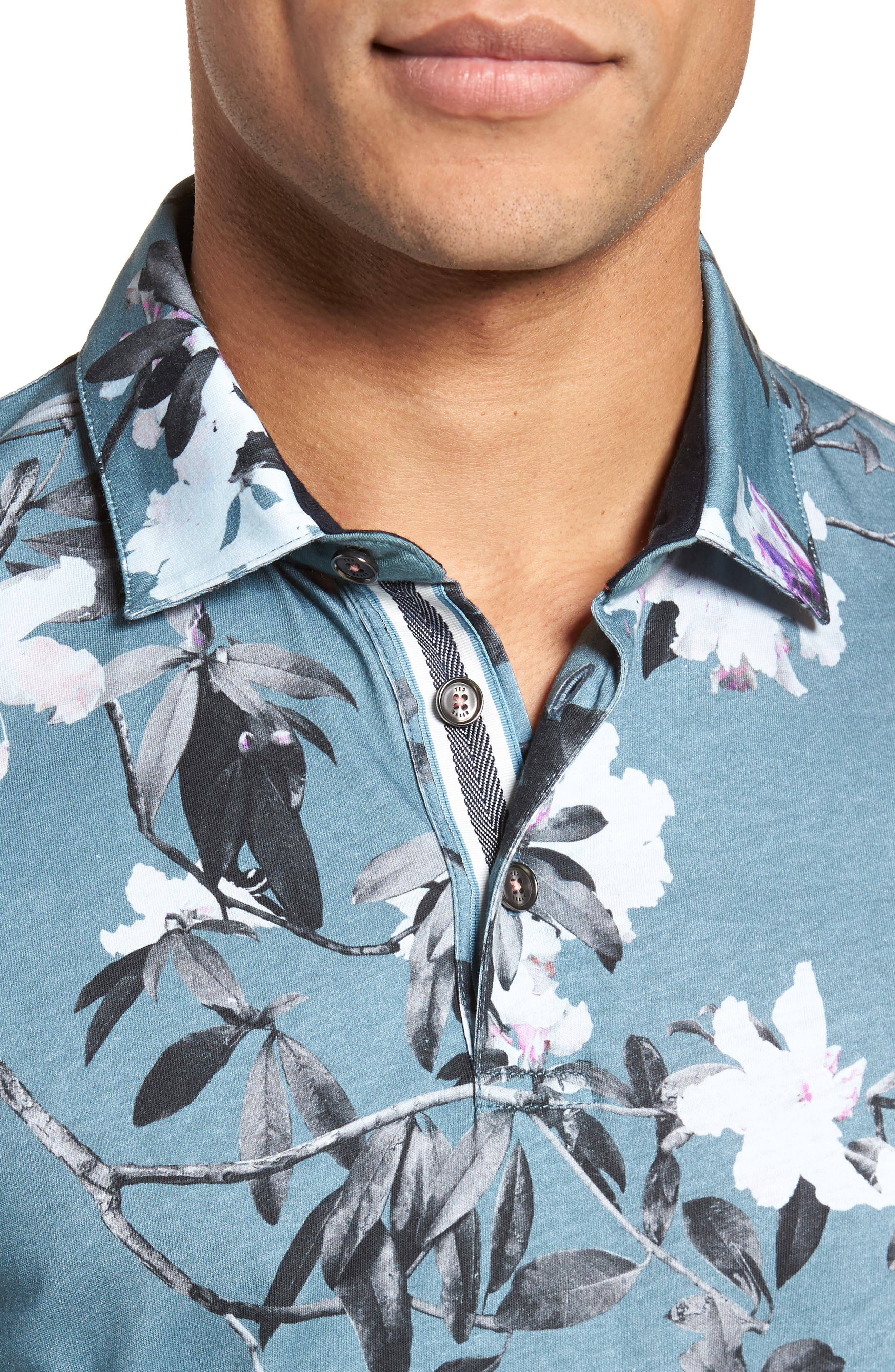 Scruff Trim Fit Floral Print Polo,                             Alternate thumbnail 4, color,                             Teal