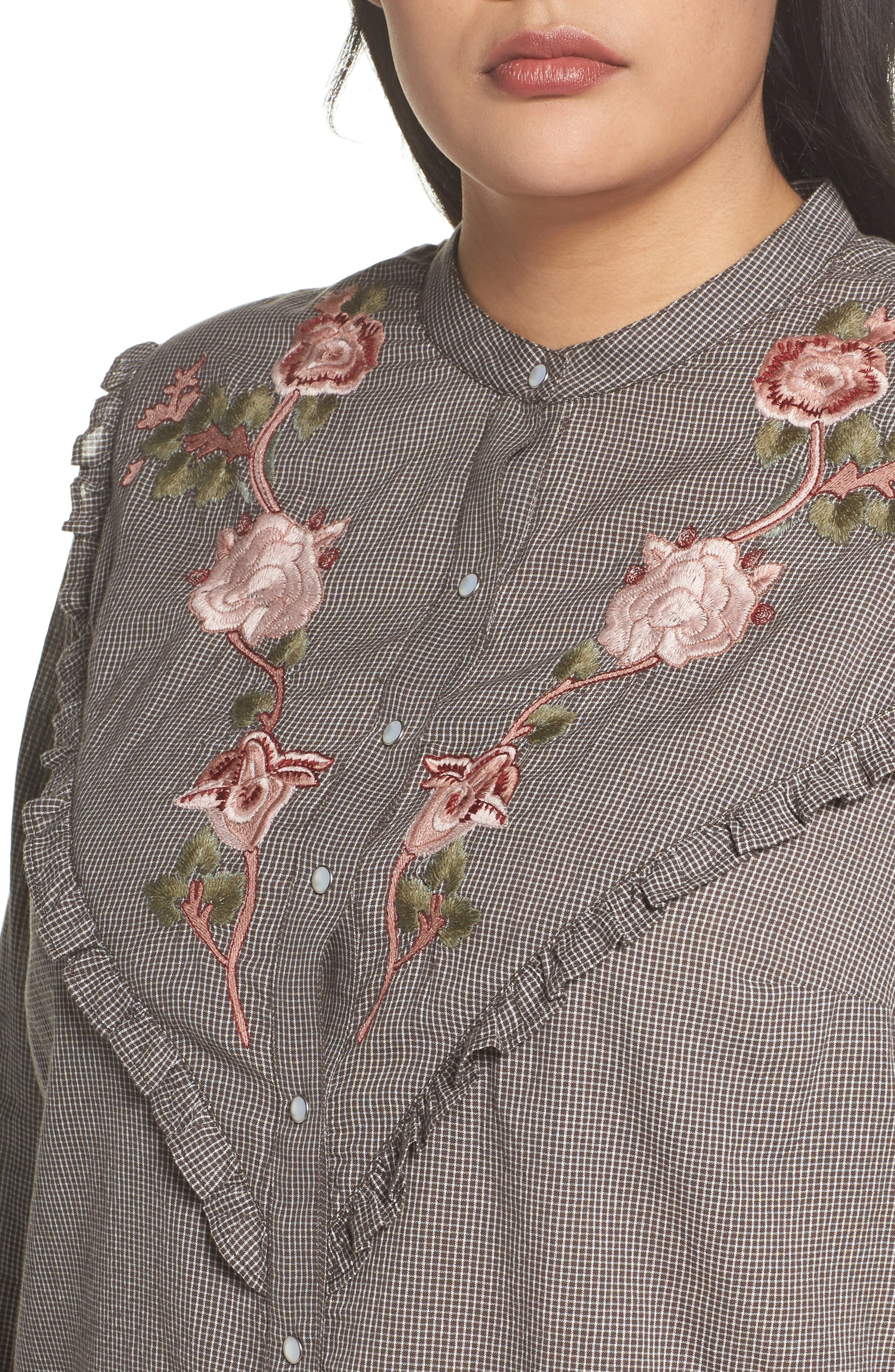 Alternate Image 4  - Lucky Brand Embroidered Western Shirt (Plus Size)