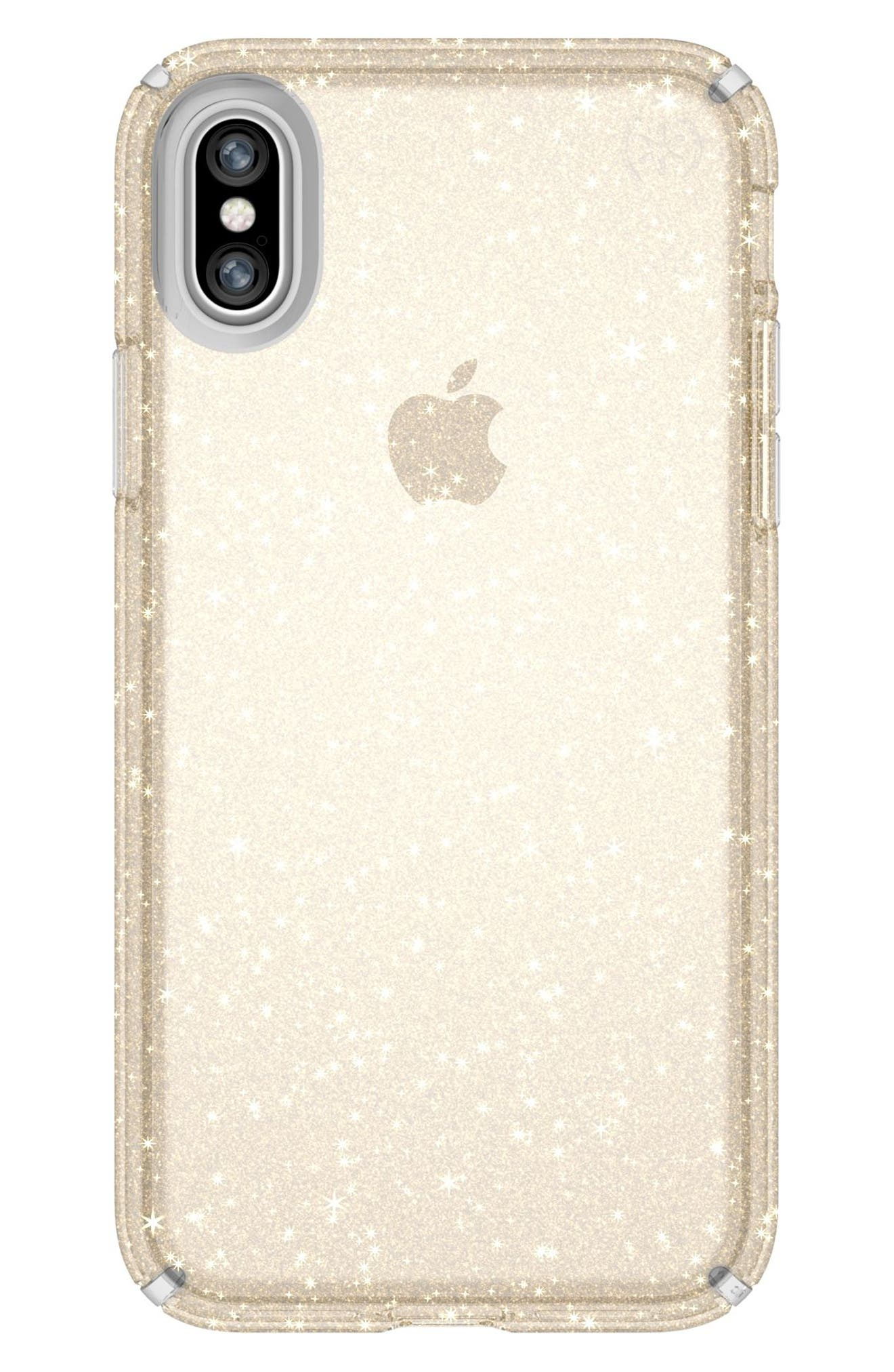 Transparent iPhone X Case,                             Main thumbnail 1, color,                             Clear With Gold Glitter/ Clear