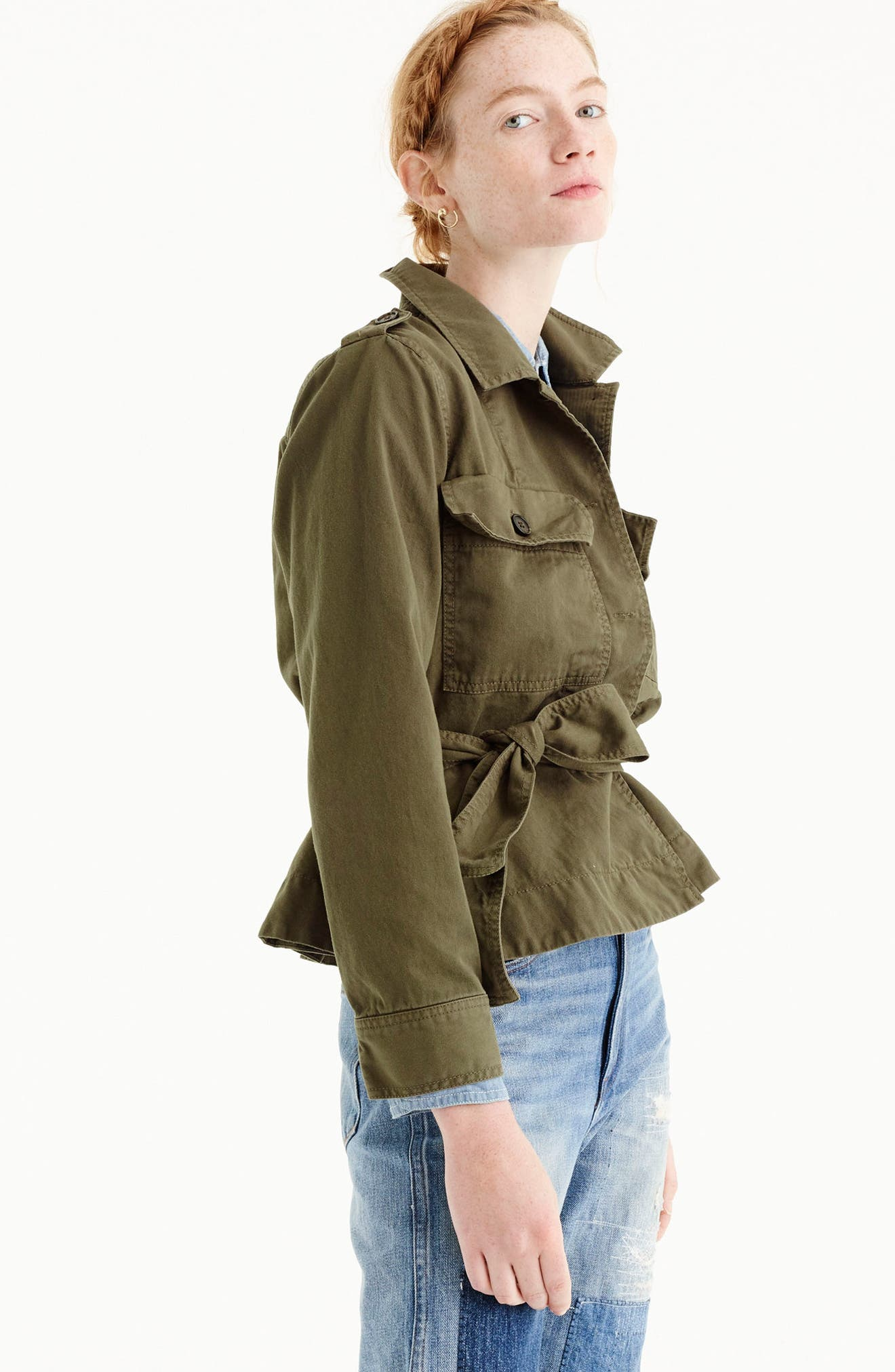 Cropped Fatigue Jacket,                             Alternate thumbnail 3, color,                             Tuscan Olive