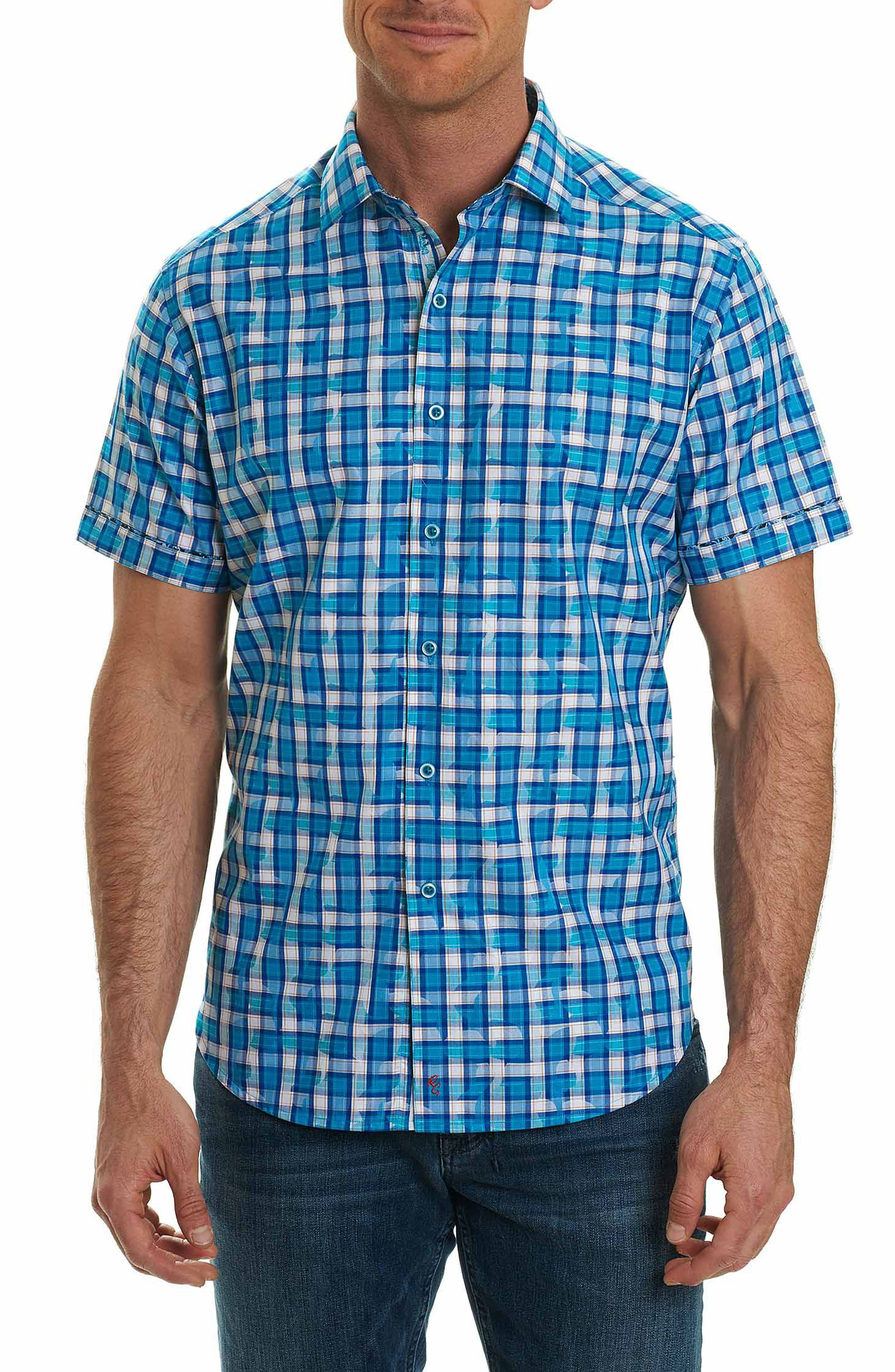 Tangier Classic Fit Print Sport Shirt,                         Main,                         color, Teal