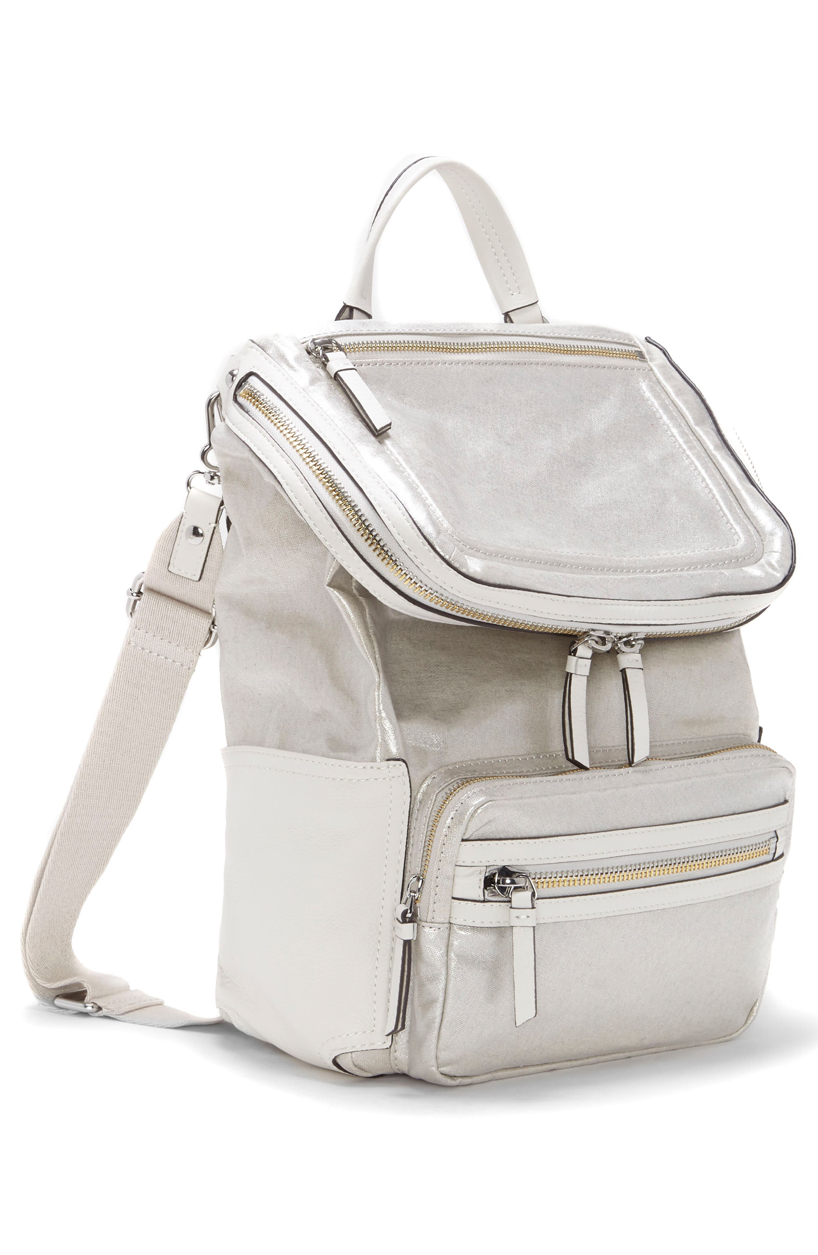 Patch NYL Leather & Nylon Backpack,                             Alternate thumbnail 3, color,                             Silver