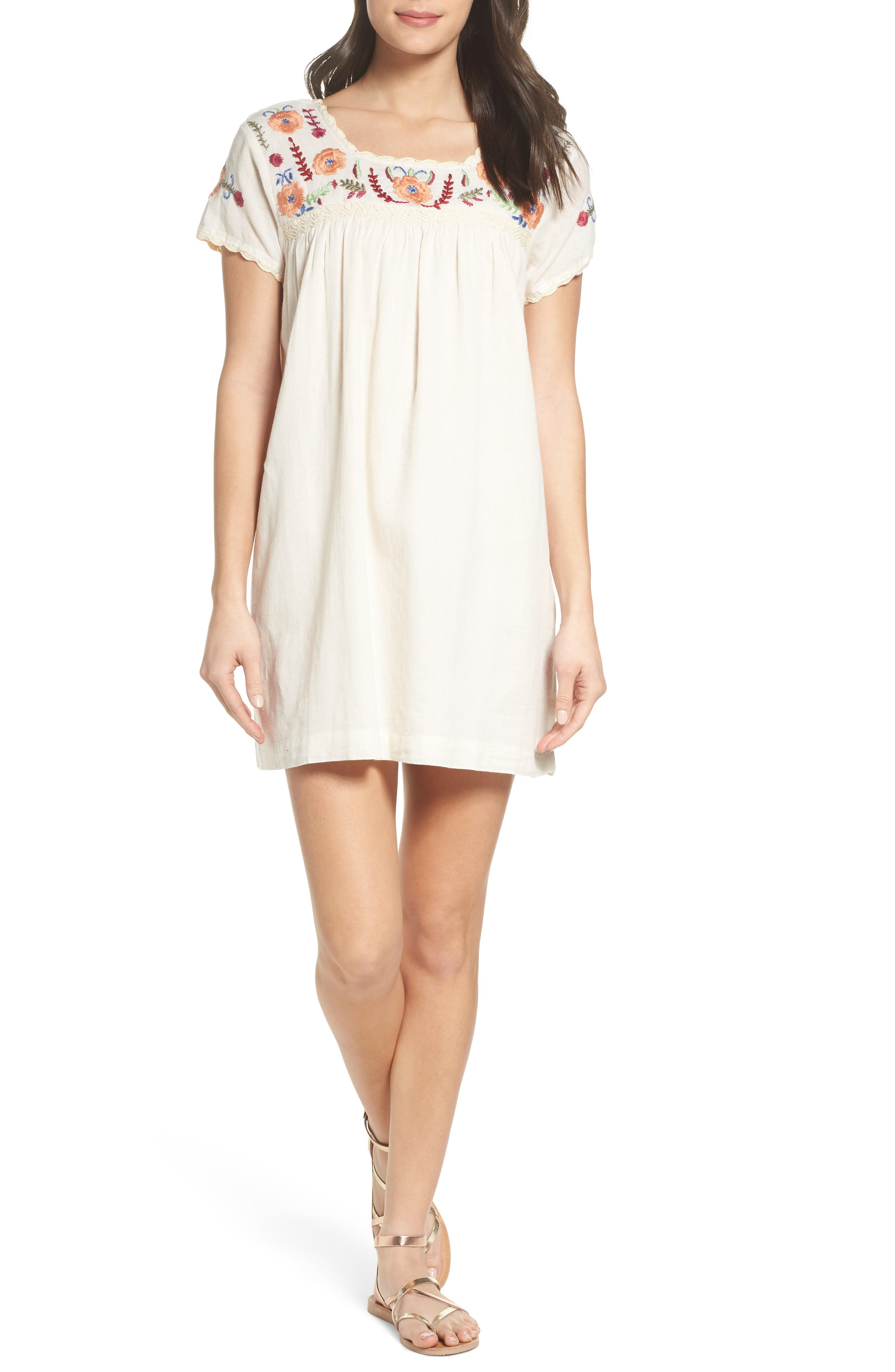 Embroidered Shift Dress,                         Main,                         color, Natural
