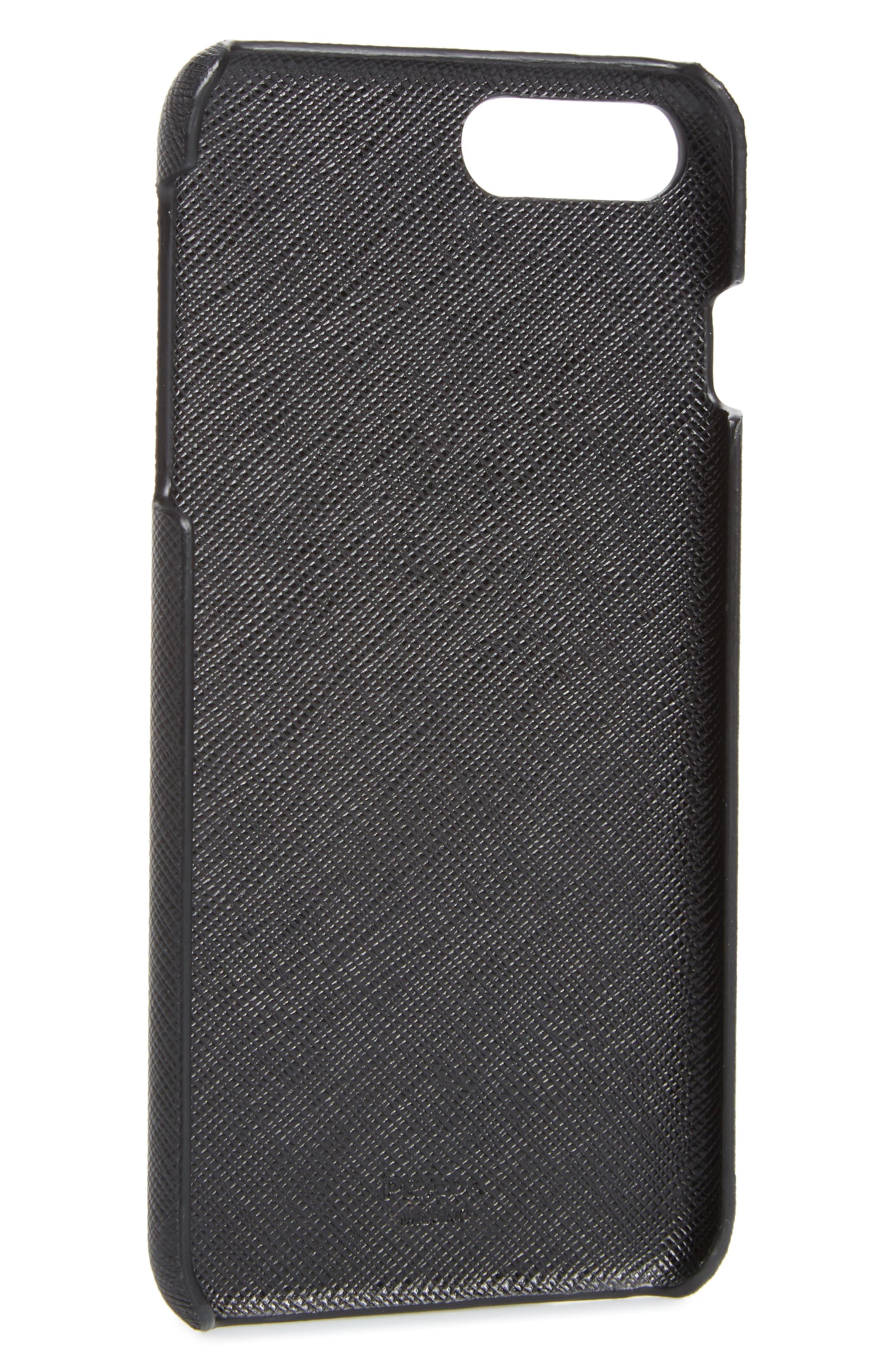 Saffiano Metal Oro iPhone 7/8 Plus Case,                             Alternate thumbnail 2, color,                             Nero