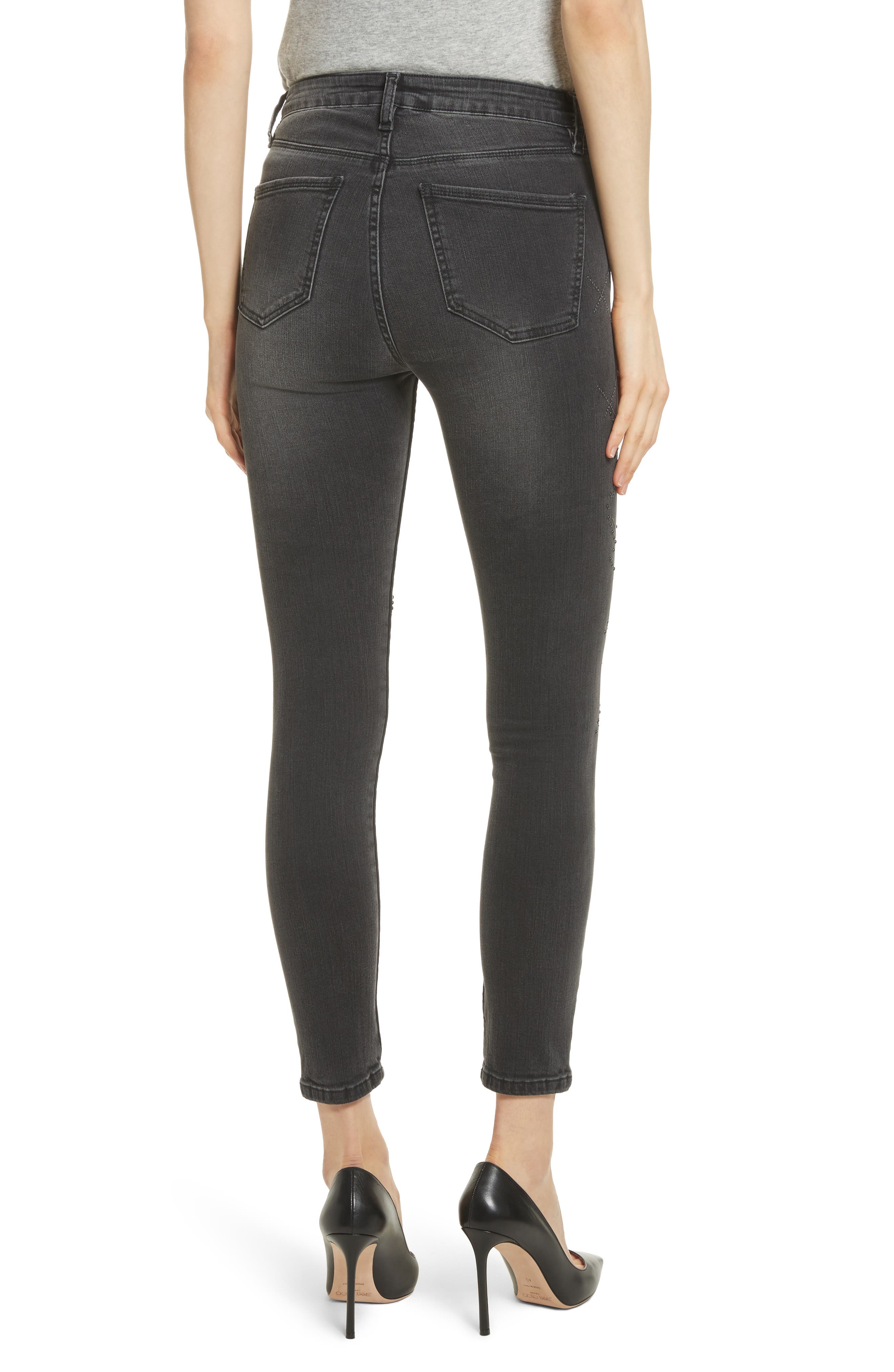 Reina Stud Skinny Jeans,                             Alternate thumbnail 2, color,                             Black Used