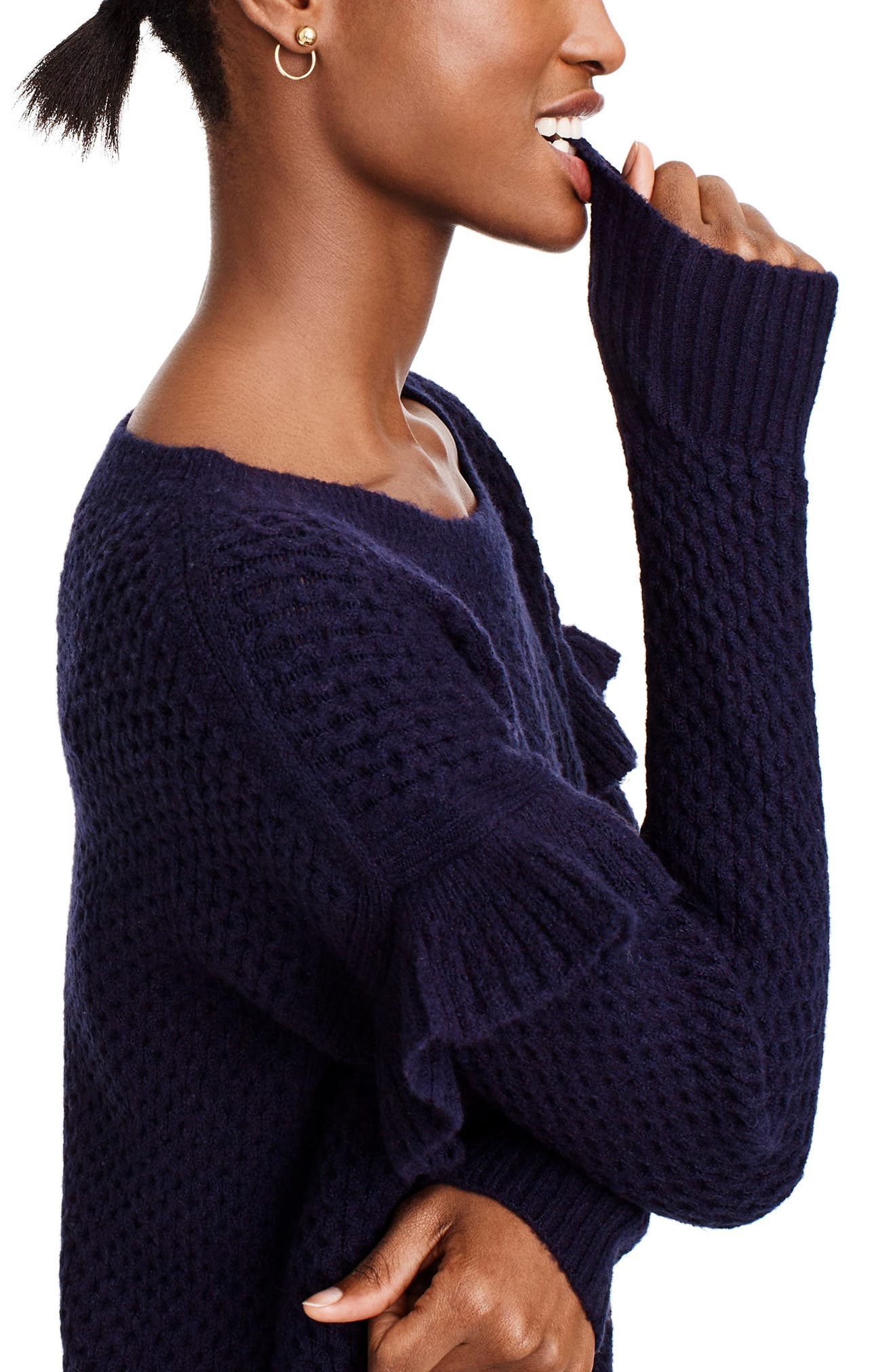 Holden Ruffle Sleeve Cable Knit Sweater Dress,                             Alternate thumbnail 3, color,                             Navy