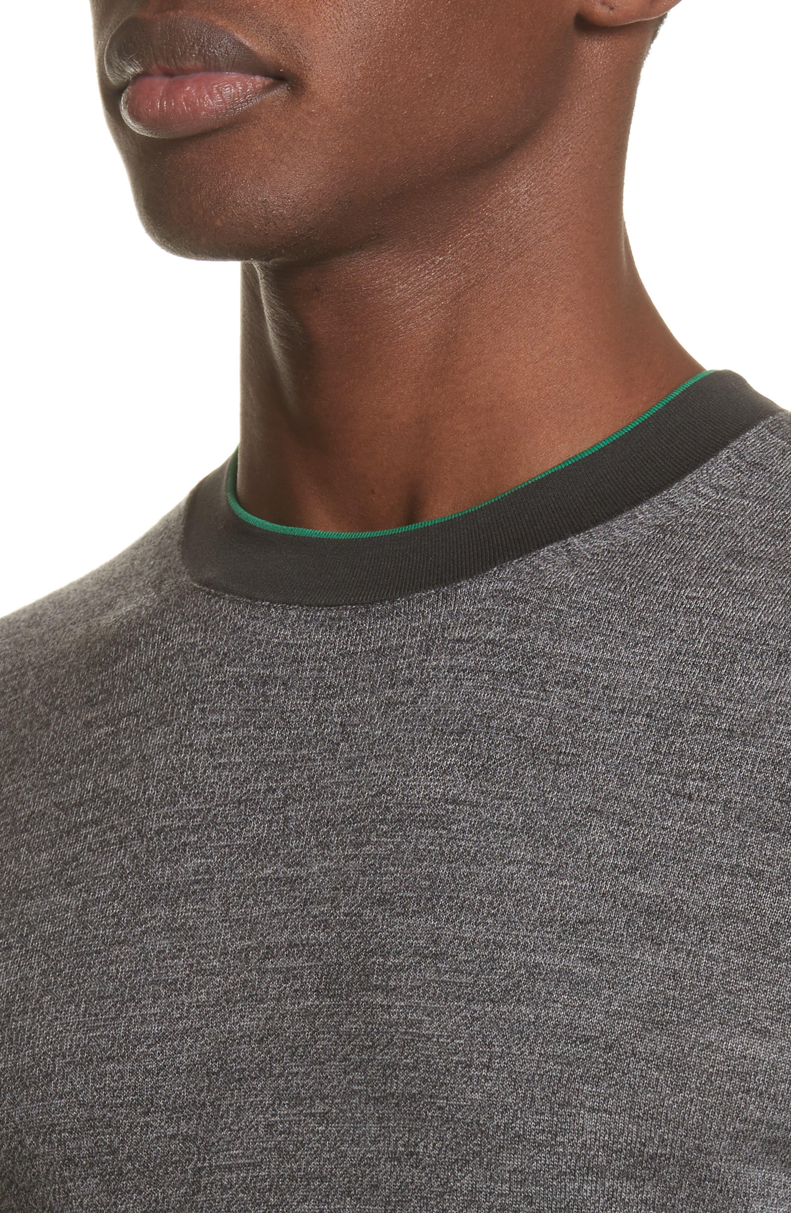 Crewneck Merino Wool Blend Sweater,                             Alternate thumbnail 4, color,                             Grey