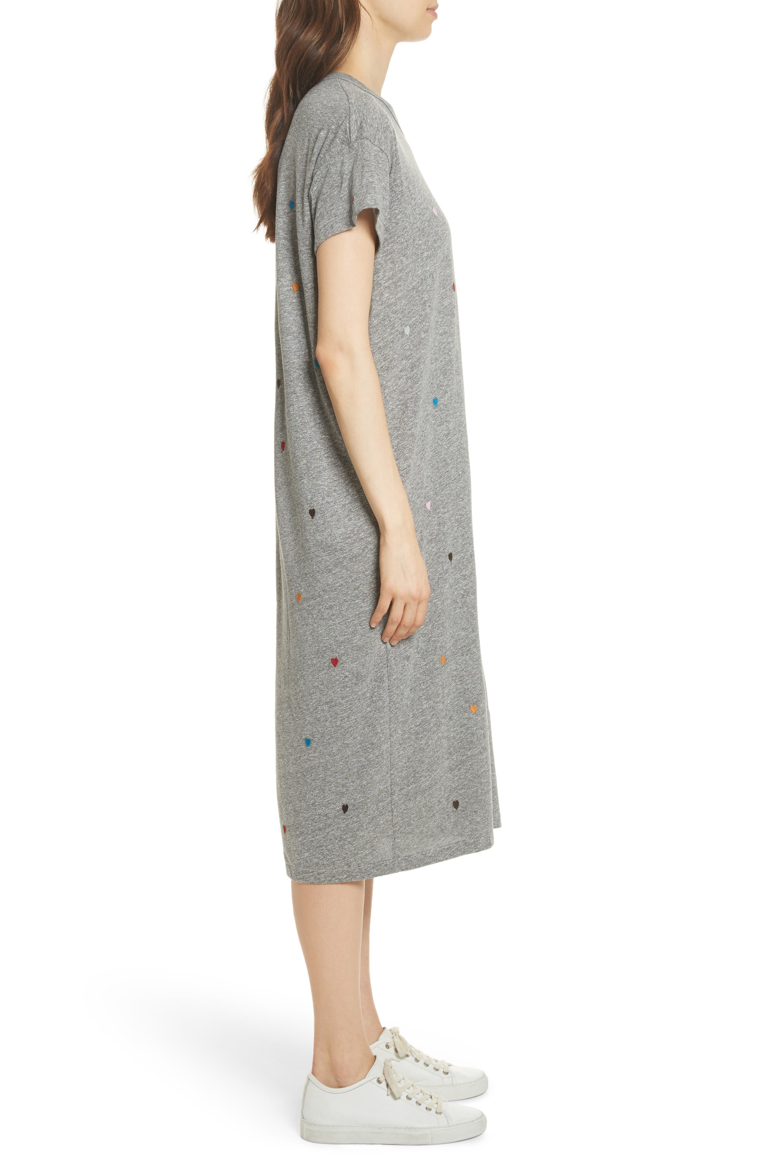 The Boxy Embroidered T-Shirt Dress,                             Alternate thumbnail 3, color,                             Grey/ Heart Embroidery