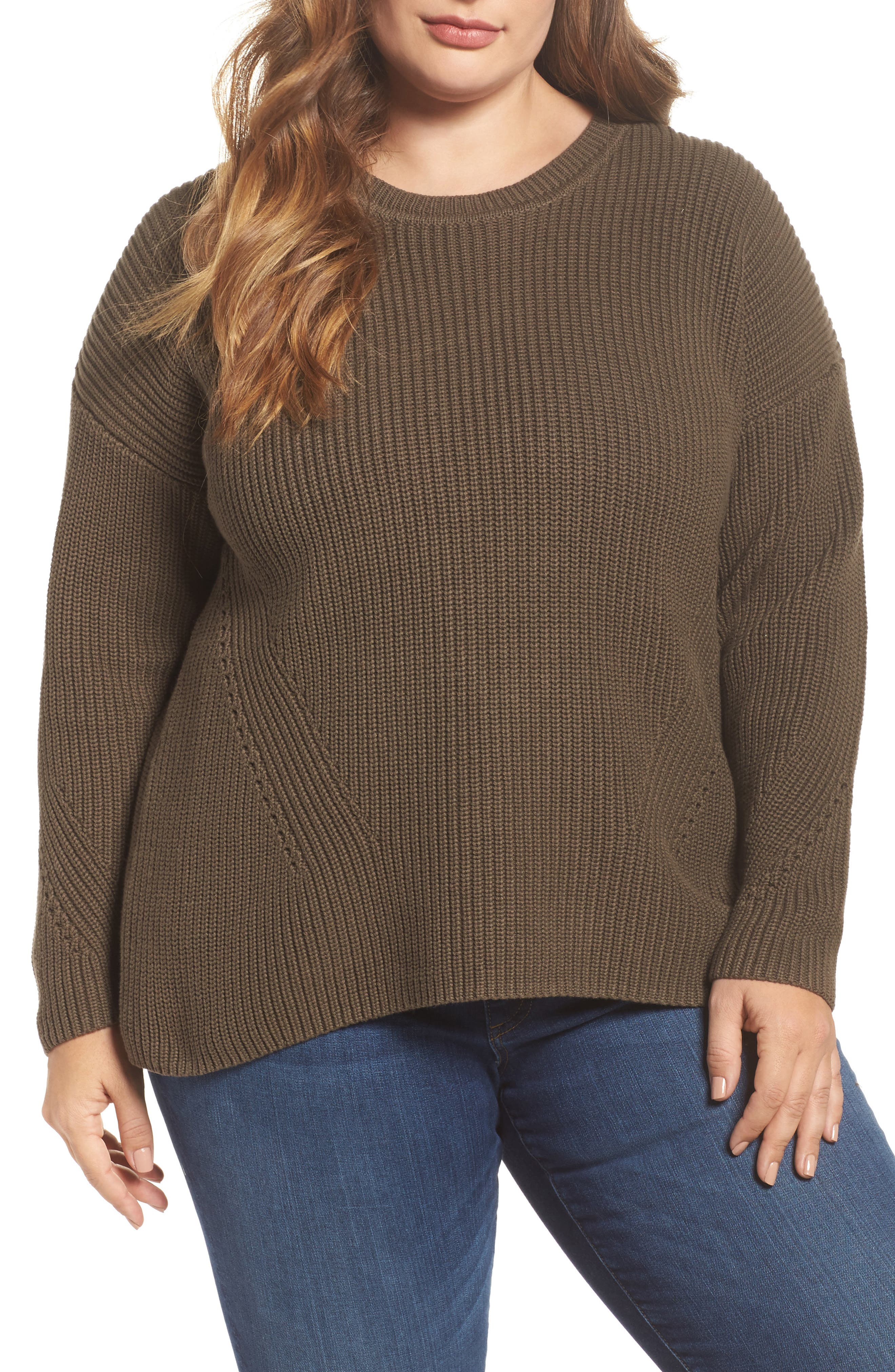 Lace-Up Back Sweater,                         Main,                         color, Olive